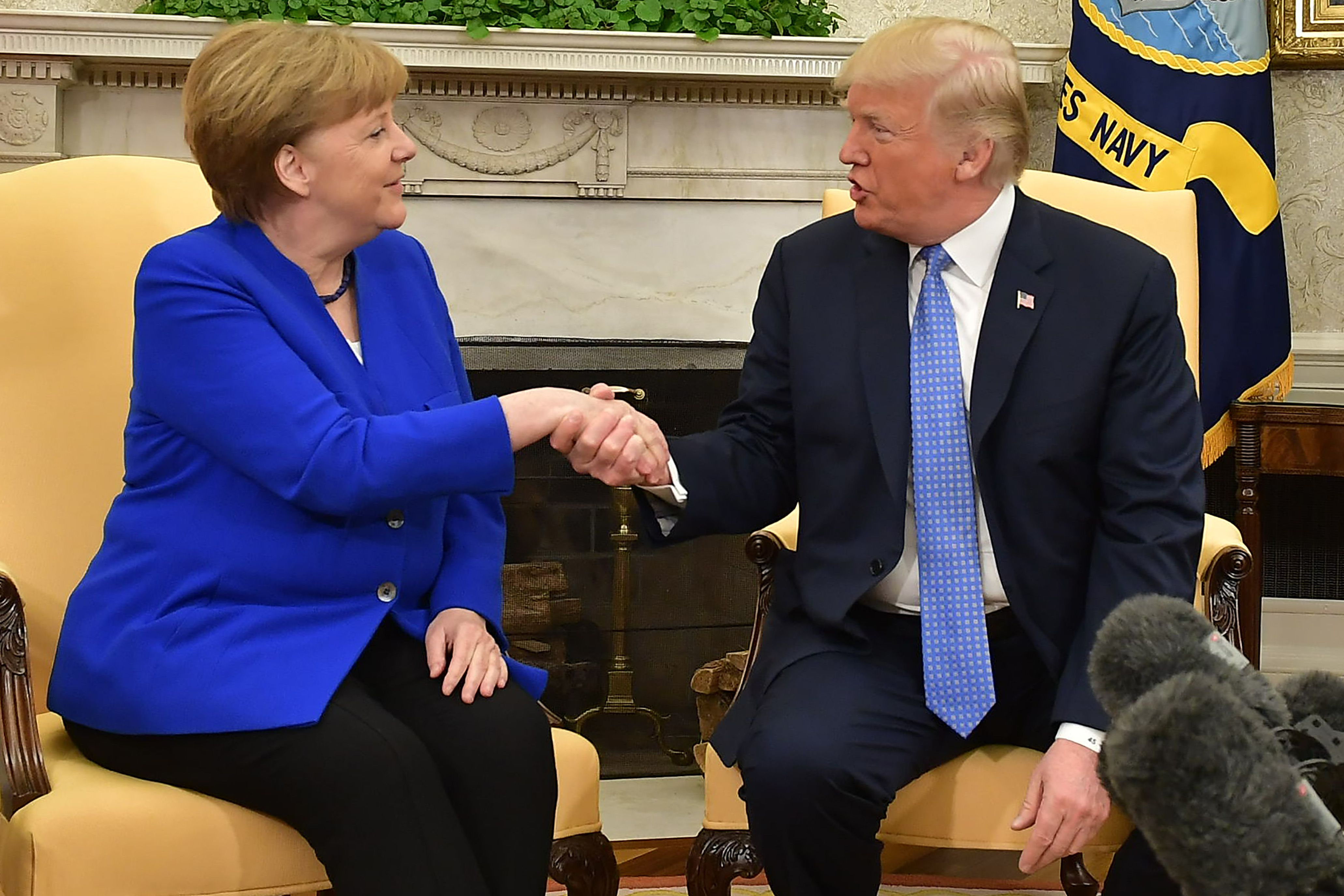 Trump and Merkel in the Oval