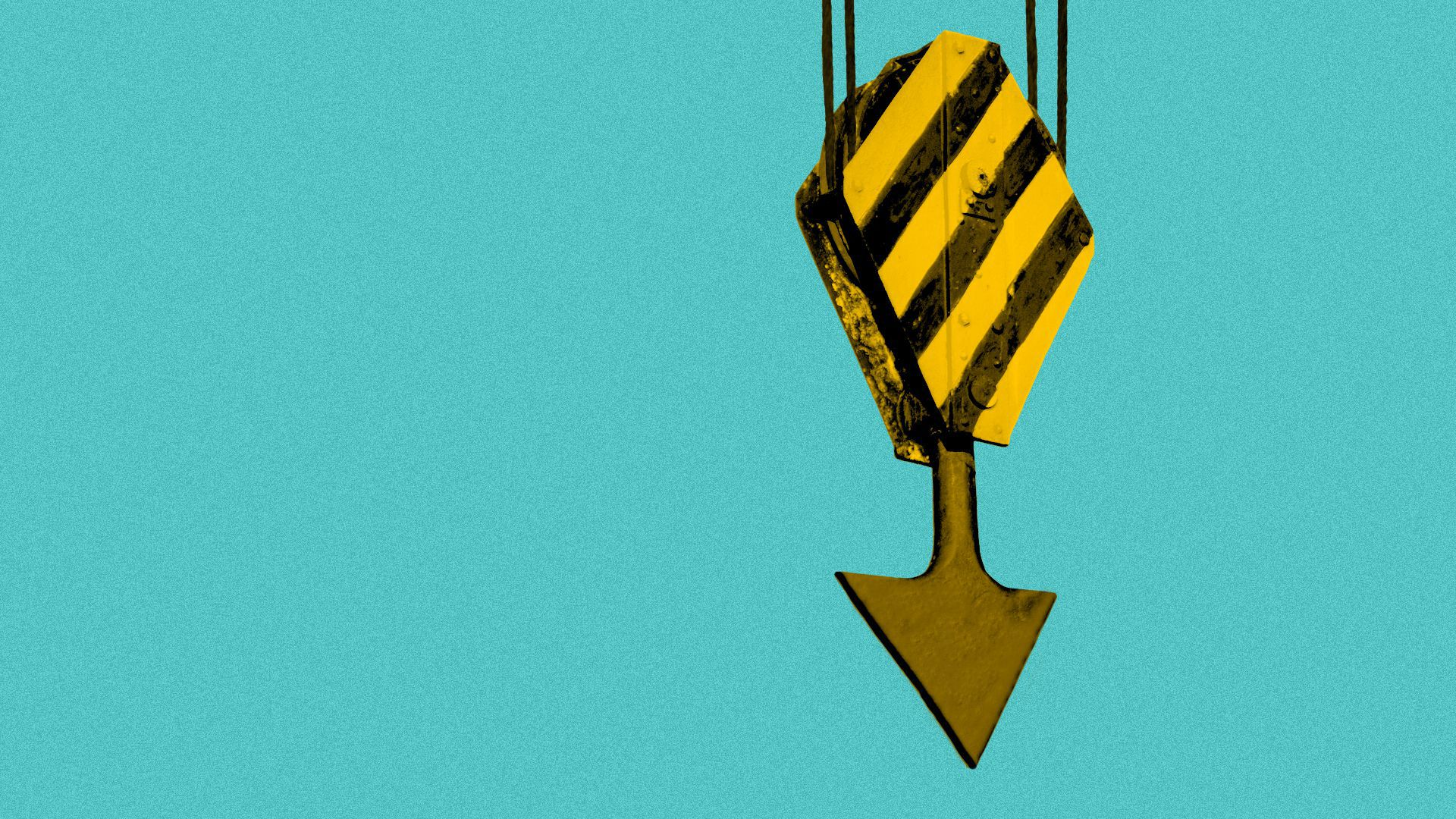 Illustration of a construction crane hook with a downward arrow instead of a hook.