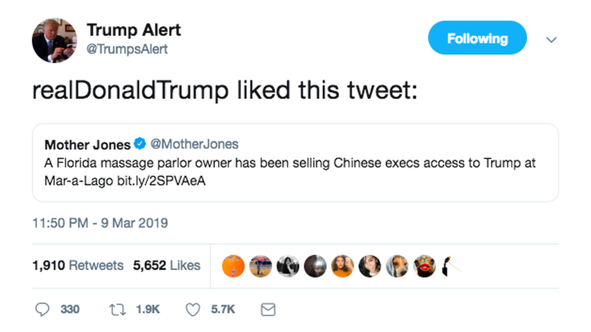 "Trump ""likes"" tweet connecting massage parlor owner to Mar-a-lago"