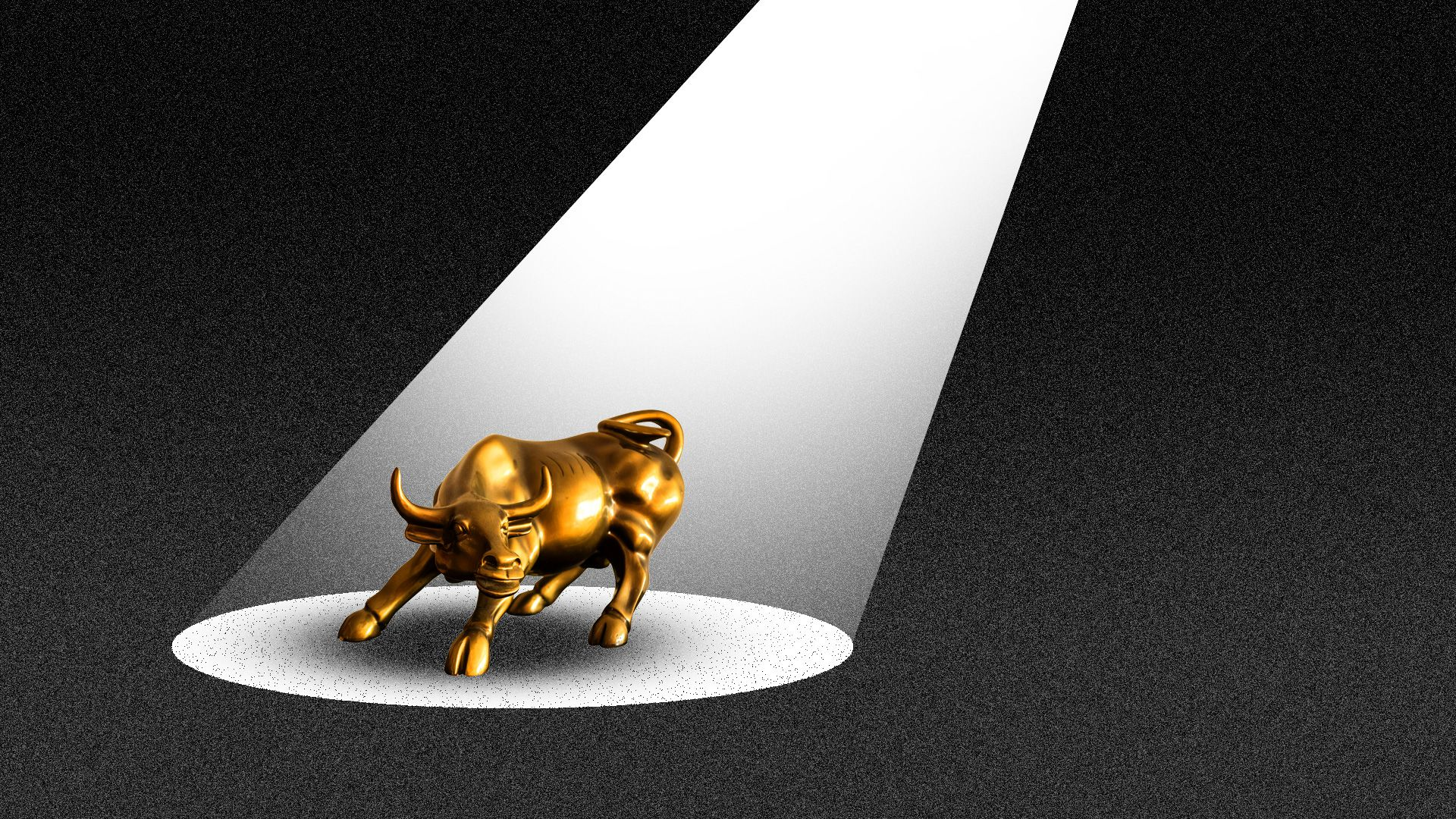 The Wall Street bull being illuminated by a spotlight