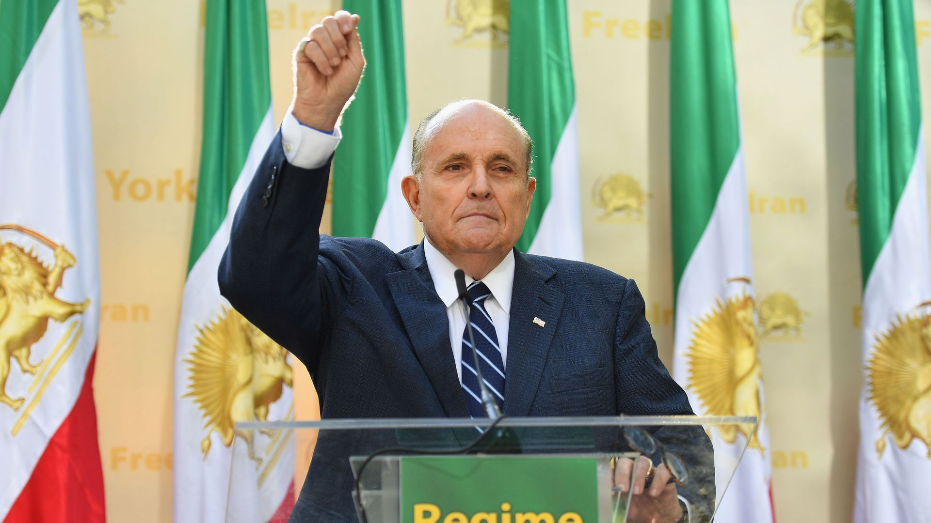 Rudy Giuliani, Former Mayor of New York City speaks to the Organization of Iranian American Communities outside the United Nations Headquarters in New York on September 24
