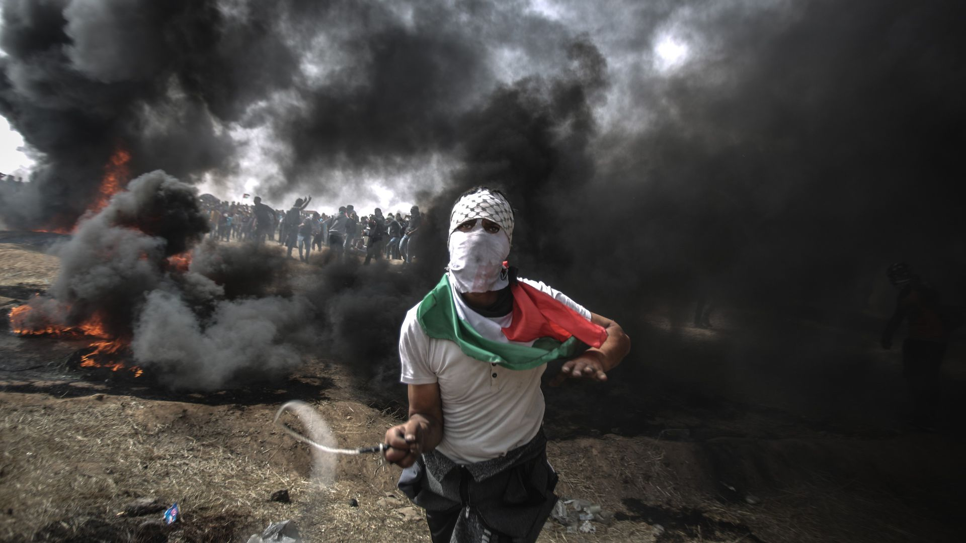 A Palestinian protester at the Gaza-Israel border