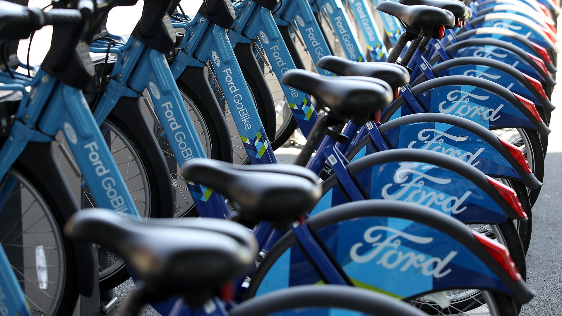 Row of Ford GoBikes for rent in San Francisco.