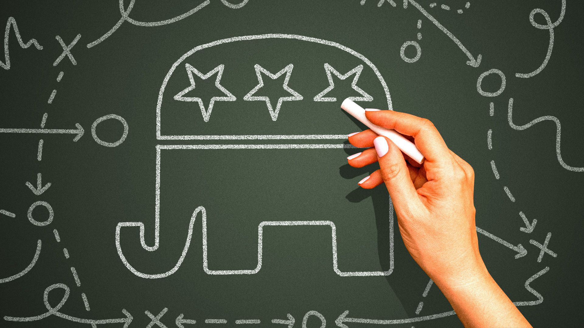 Illustration of a female hand drawing playbook style plans on a chalkboard next to the icon of the GOP.