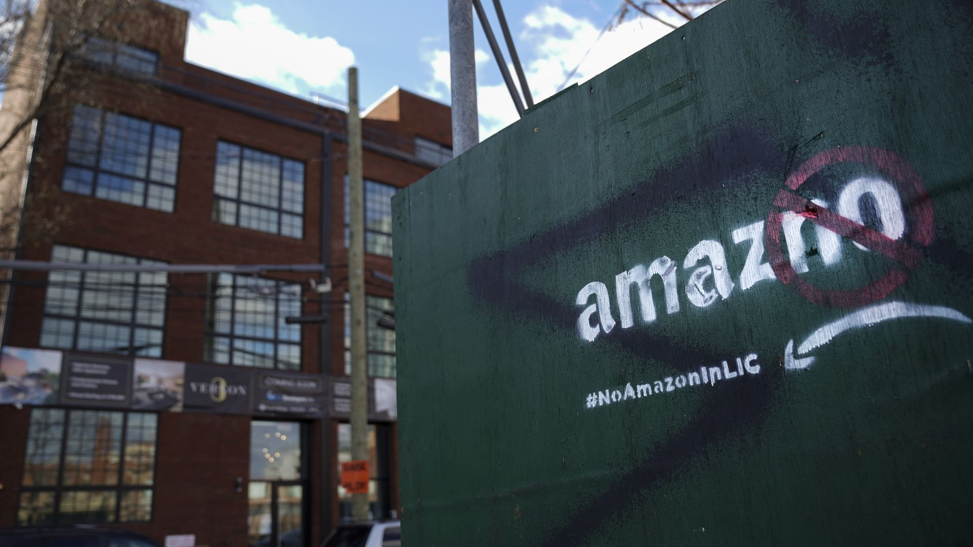 A protest message directed at Amazon  in the Long Island City.