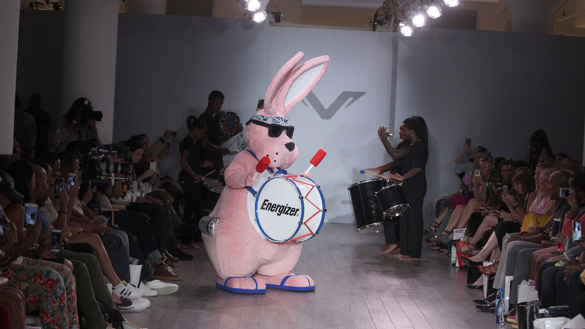 The Energizer Bunny at a fashion show.