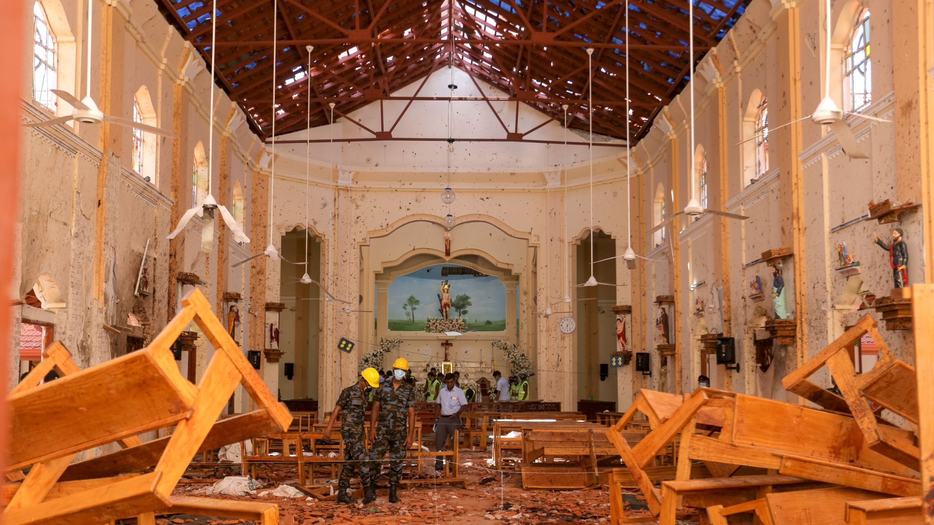 interior of a church after the bomb blast