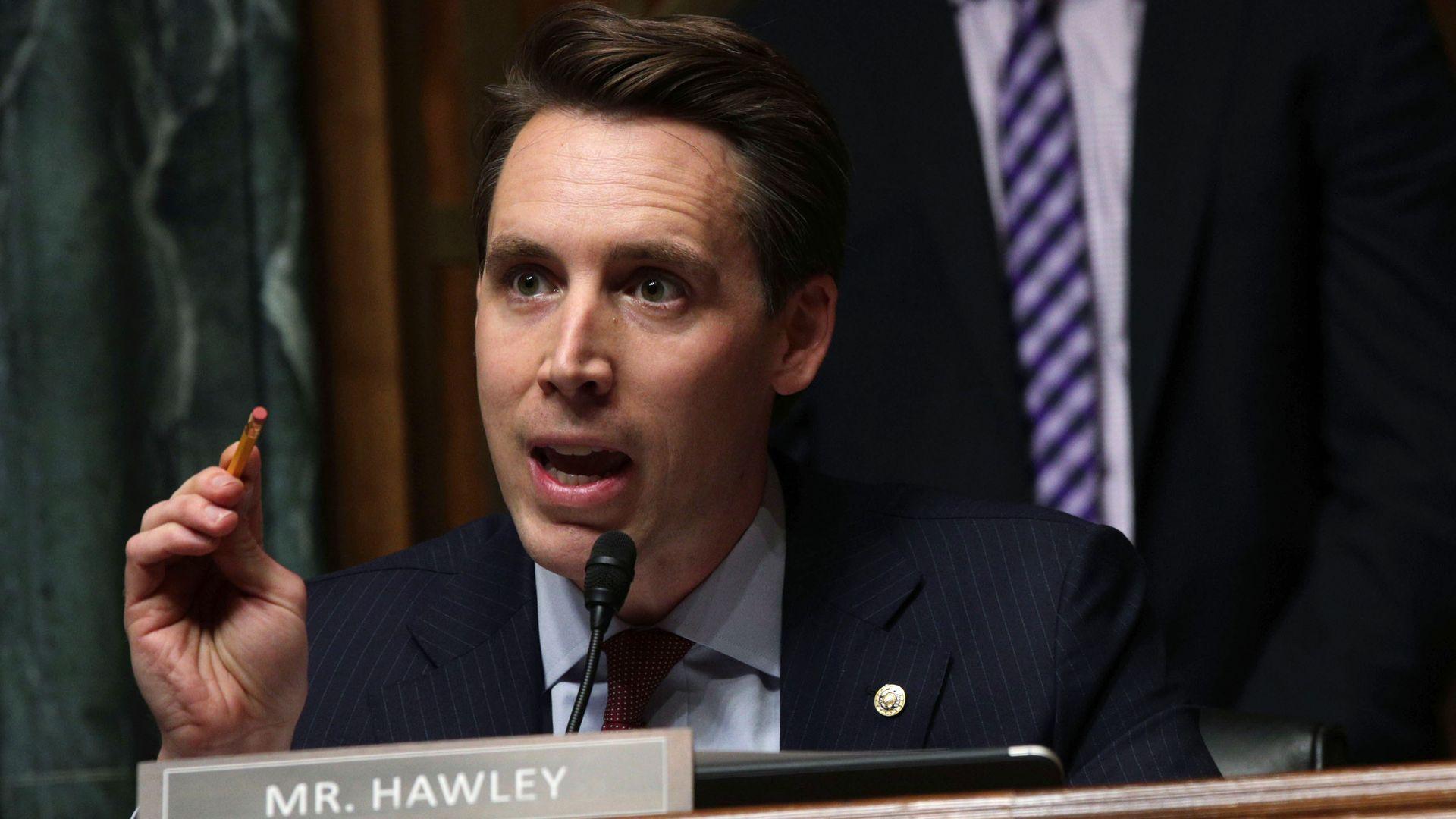 Senator Josh Hawley speaks during a hearing