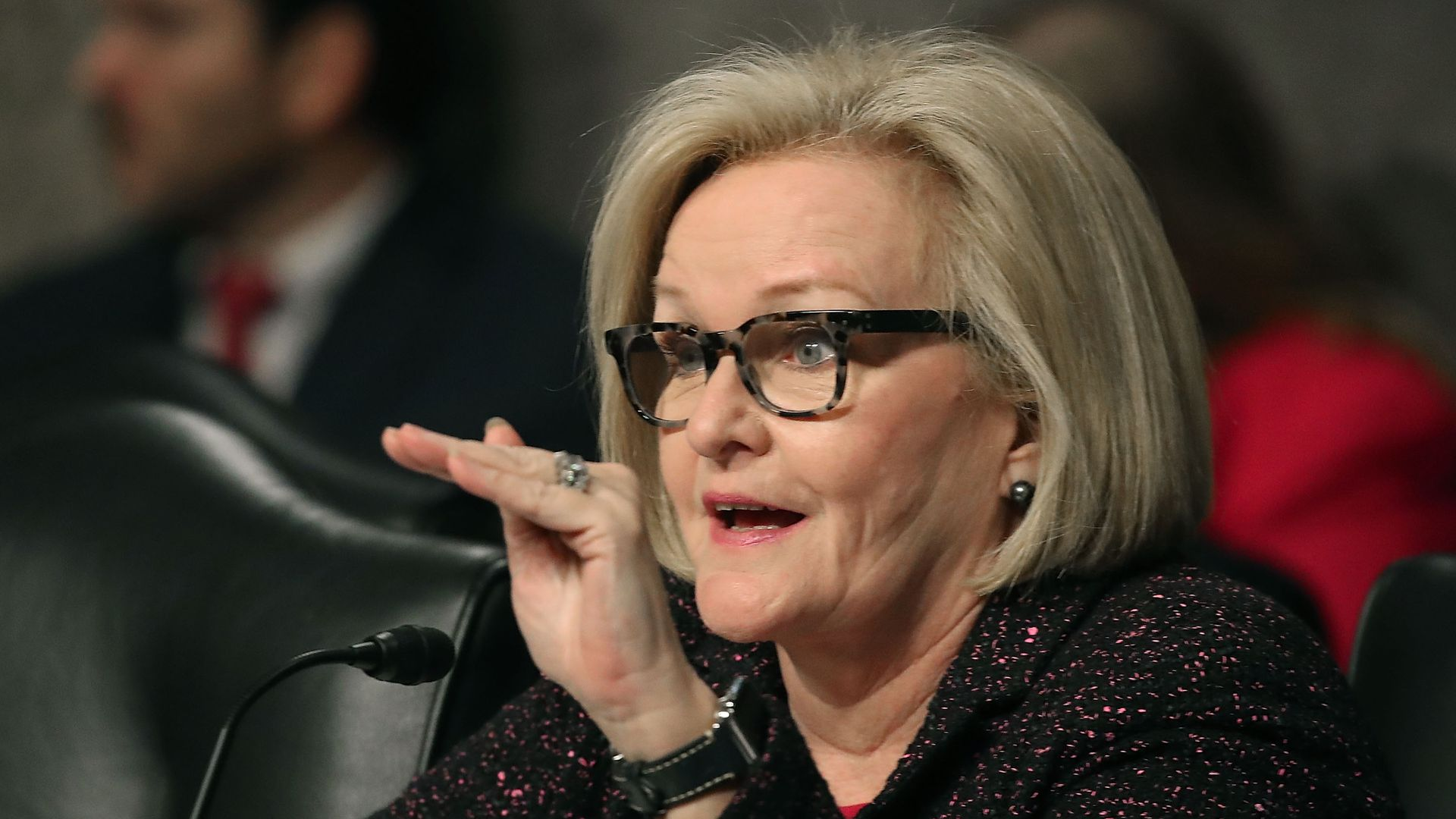 Claire McCaskill speaks at a Senate hearing.