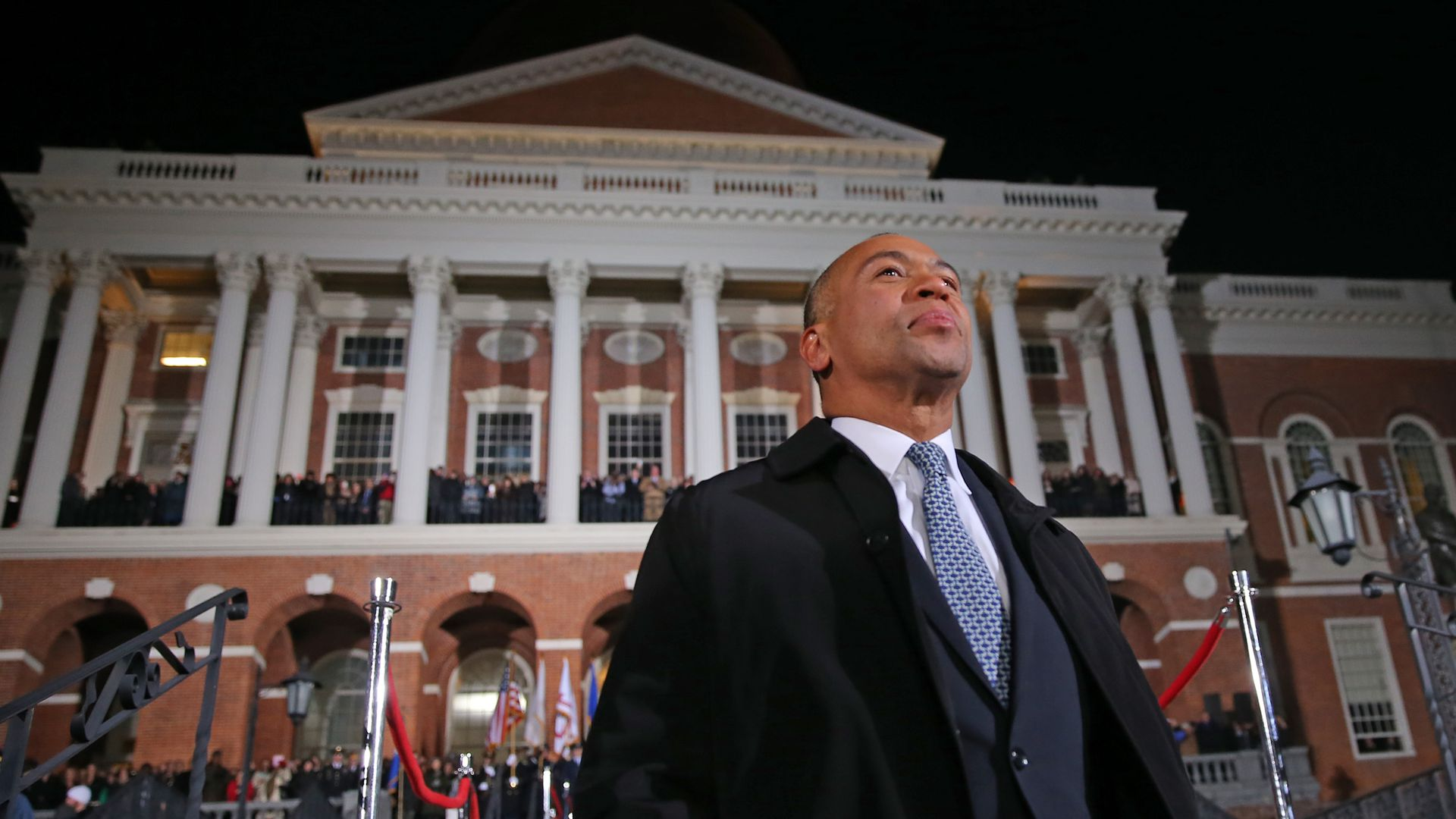 Deval Patrick standing outside the governor's office