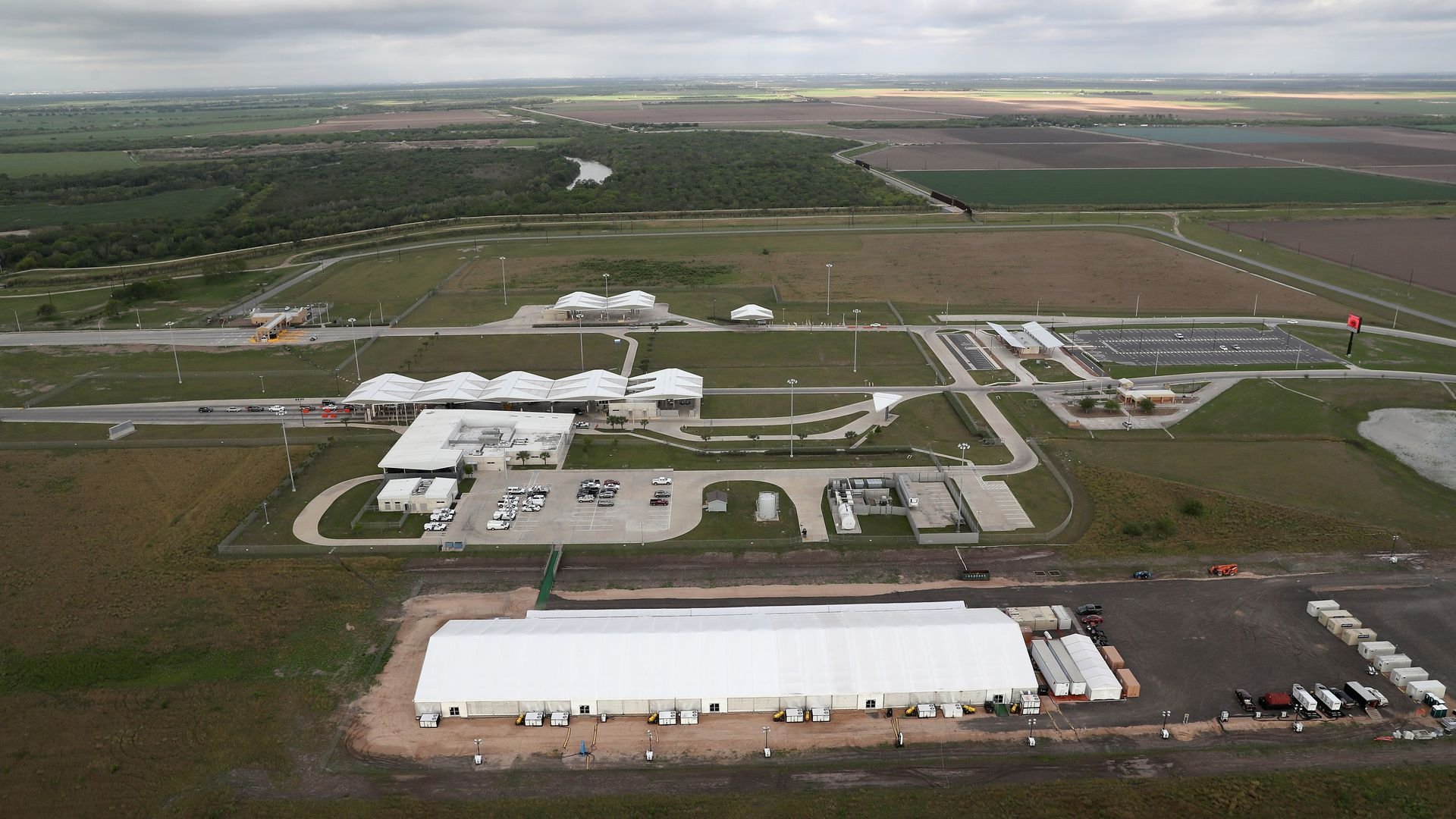 This image shows an aerial shot of the detention center in Donna, Texas