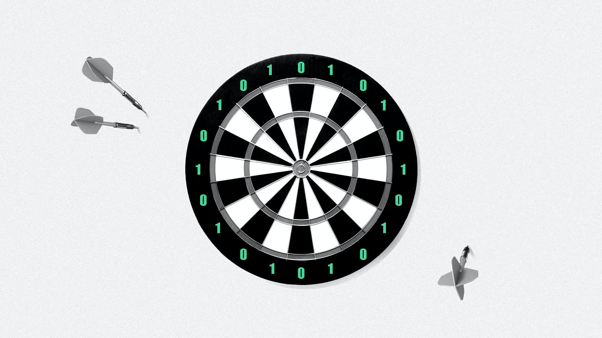 Illustration of a dart board with 1's and 0's. The darts have landed off the board.