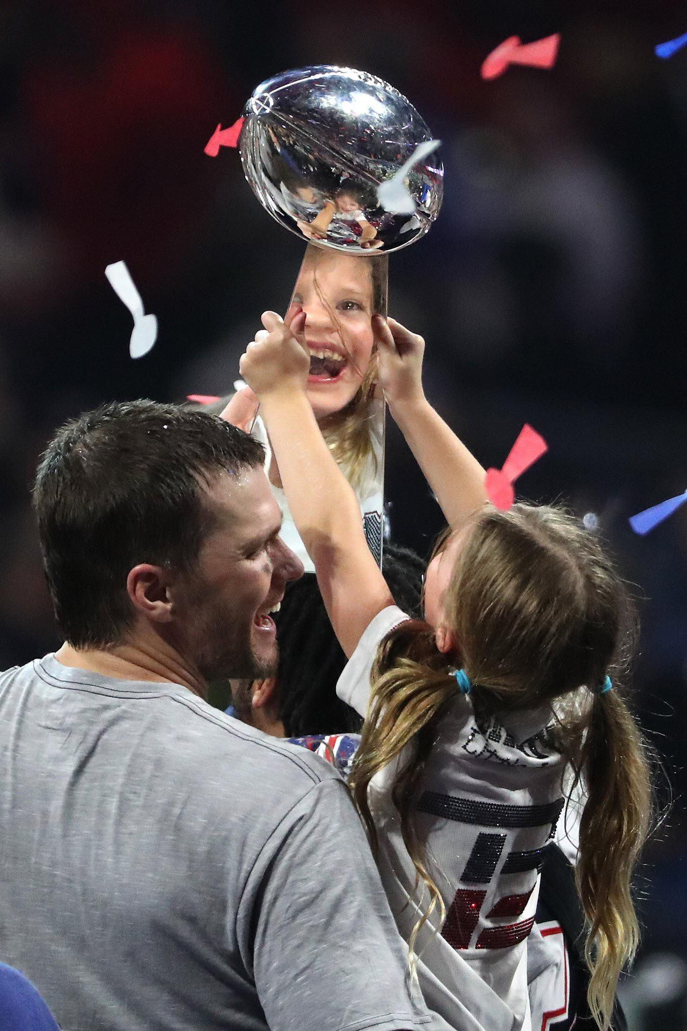 Tom Brady and his daughter after the Super Bowl
