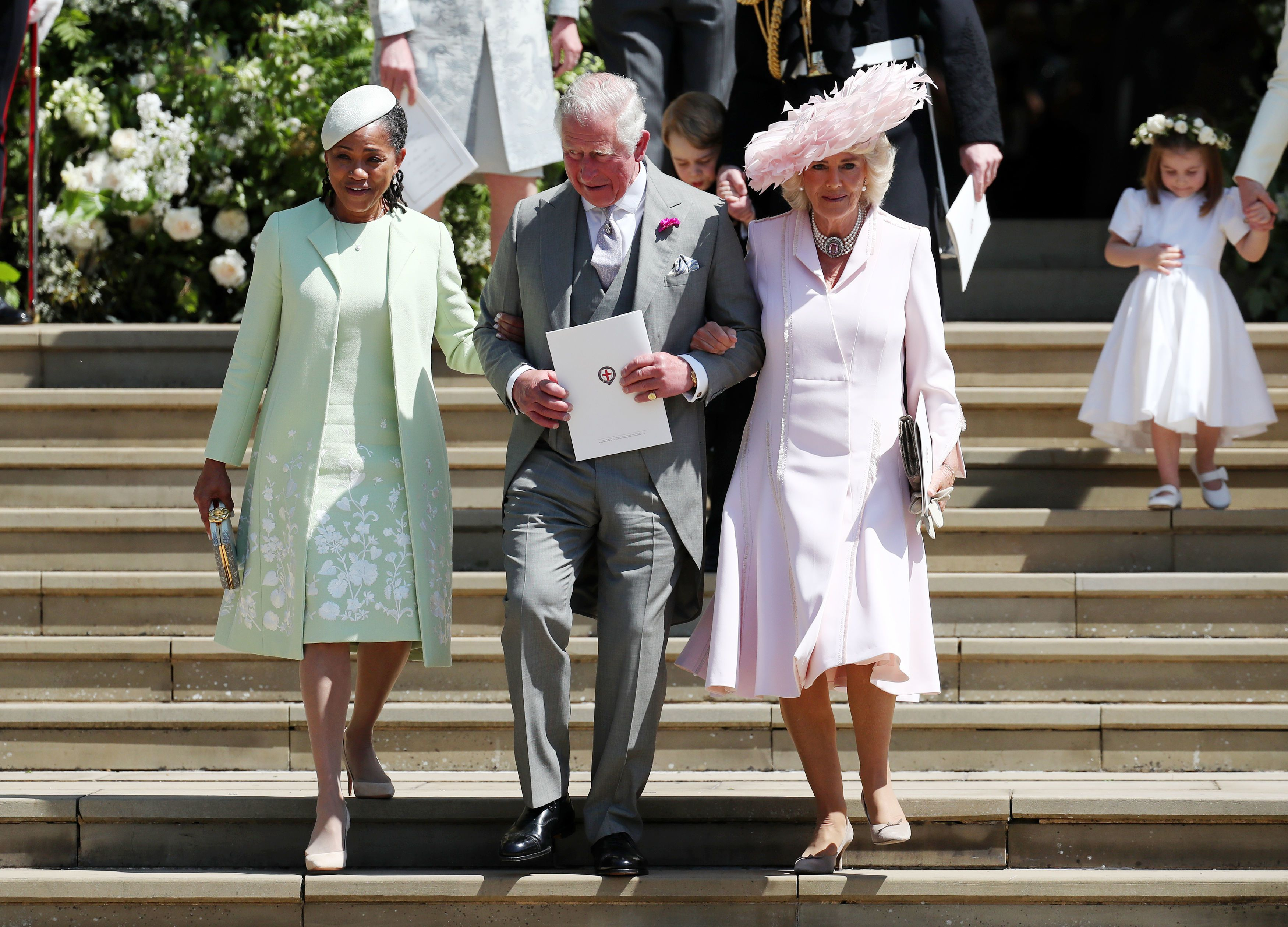 Doria Ragland, mother of the bride, Prince Charles, Prince of Wales and Camilla, Duchess of Cornwall