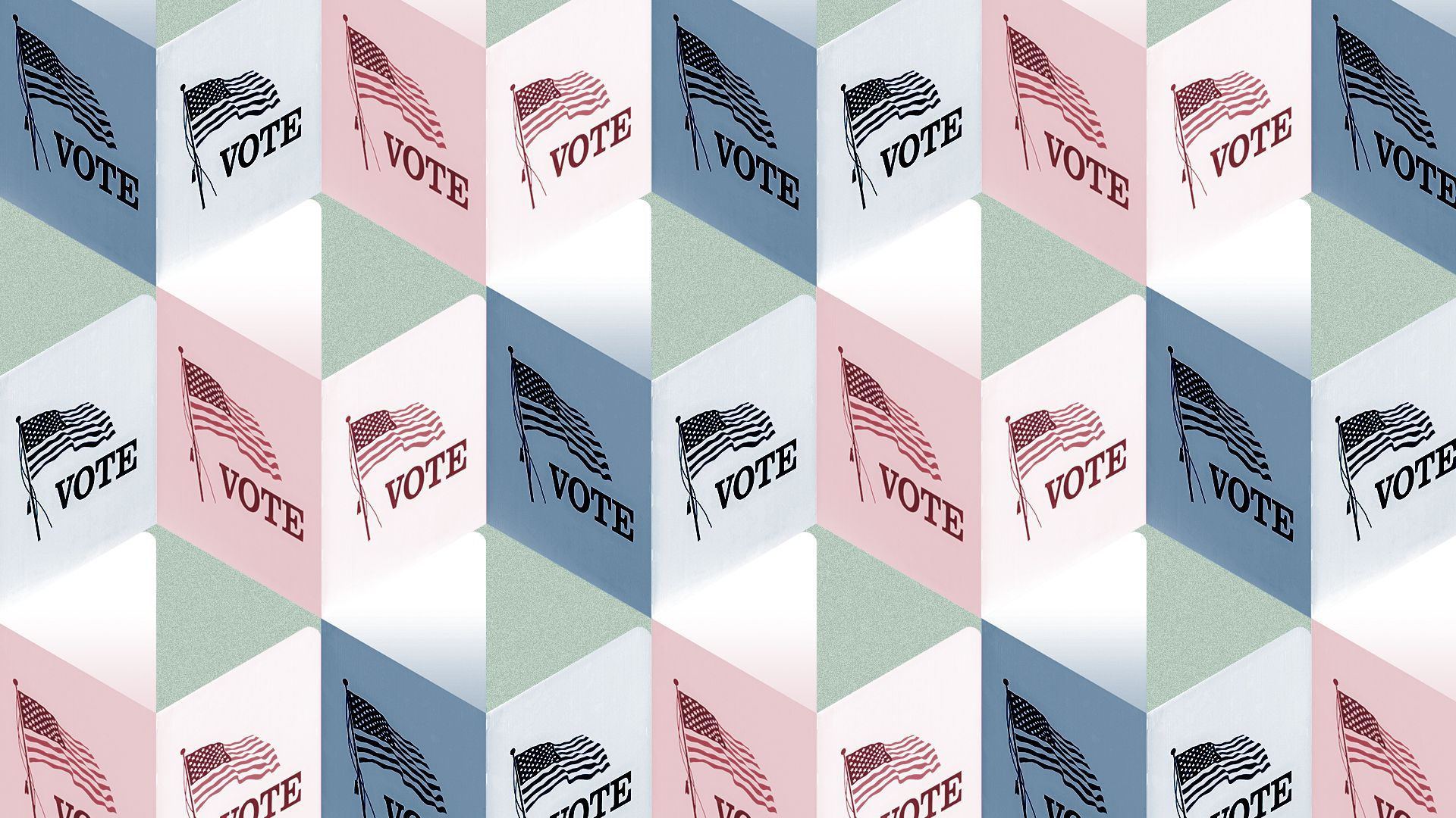 Illustration of a pattern of voting booths.