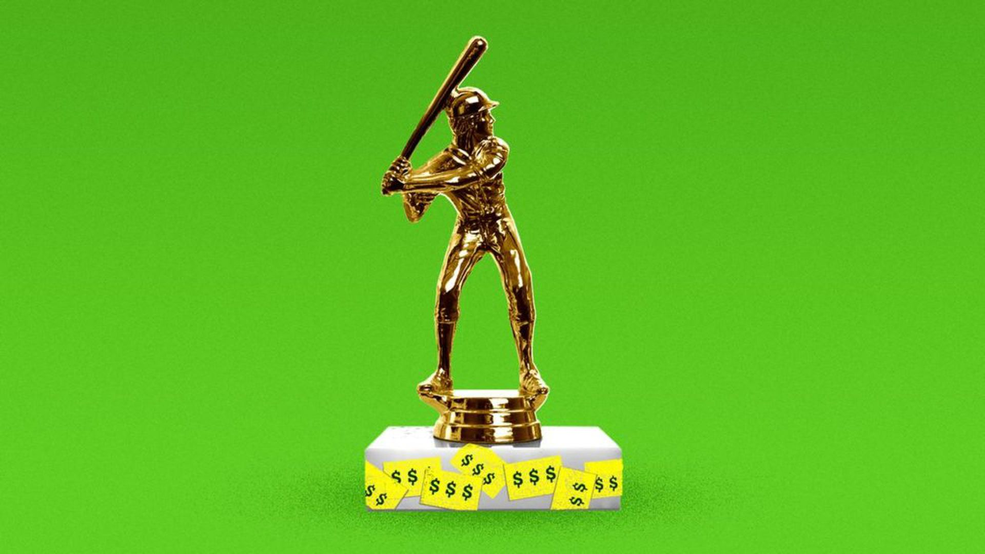 Illustration of a baseball trophy with money tags on it