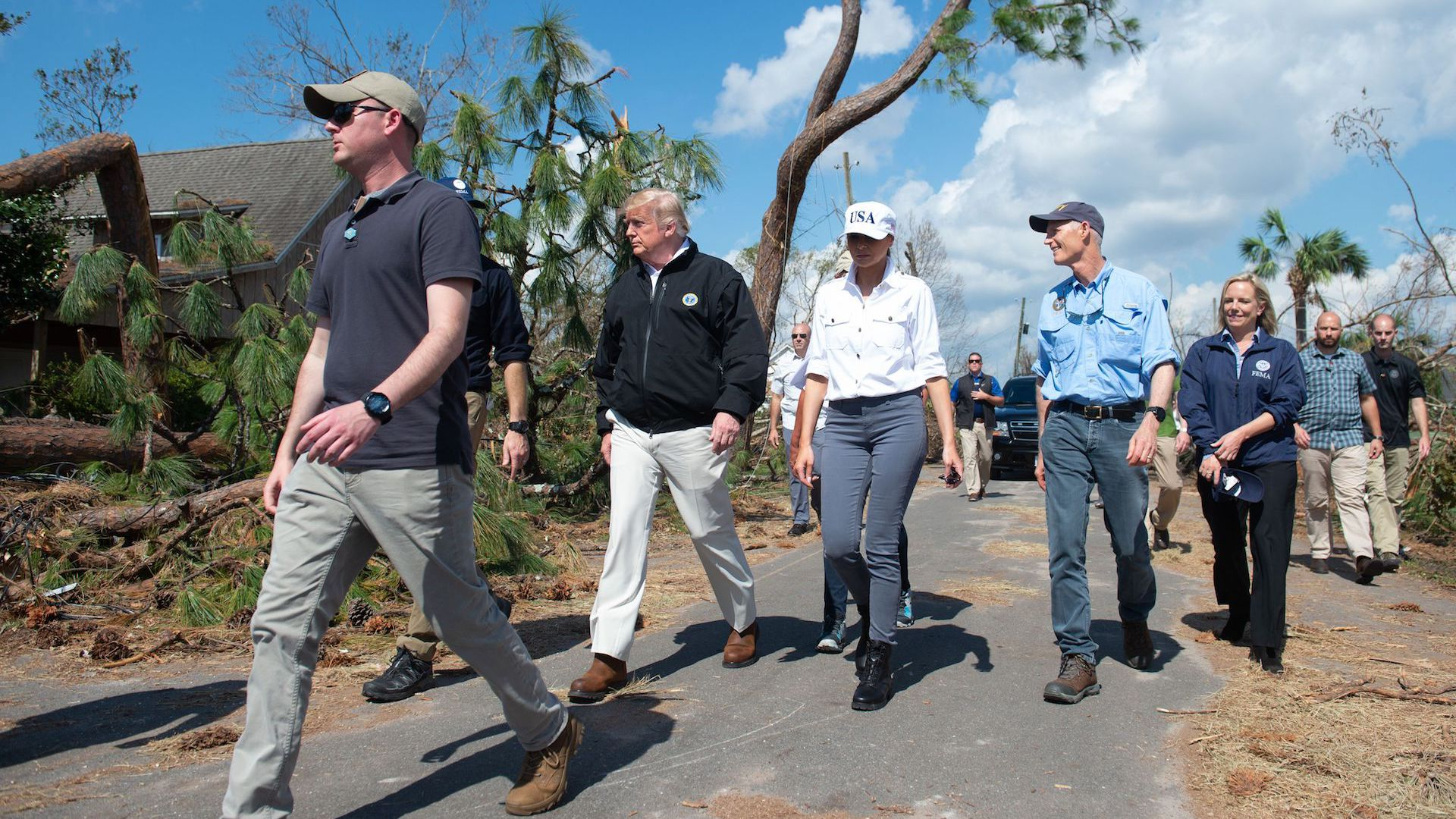 President Trump toured damage caused by Hurricane Michael on Oct. 15, 2018. Trump denied the storm was connected to climate change.