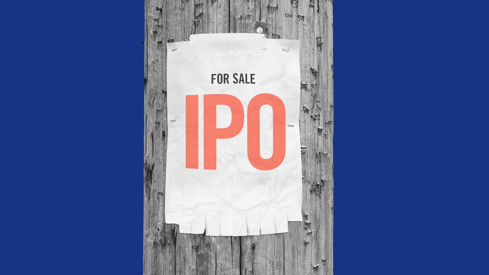 "Illustration of advertisement on a telephone pole with ripped off tabs. The ad has ""For Sale IPO"""