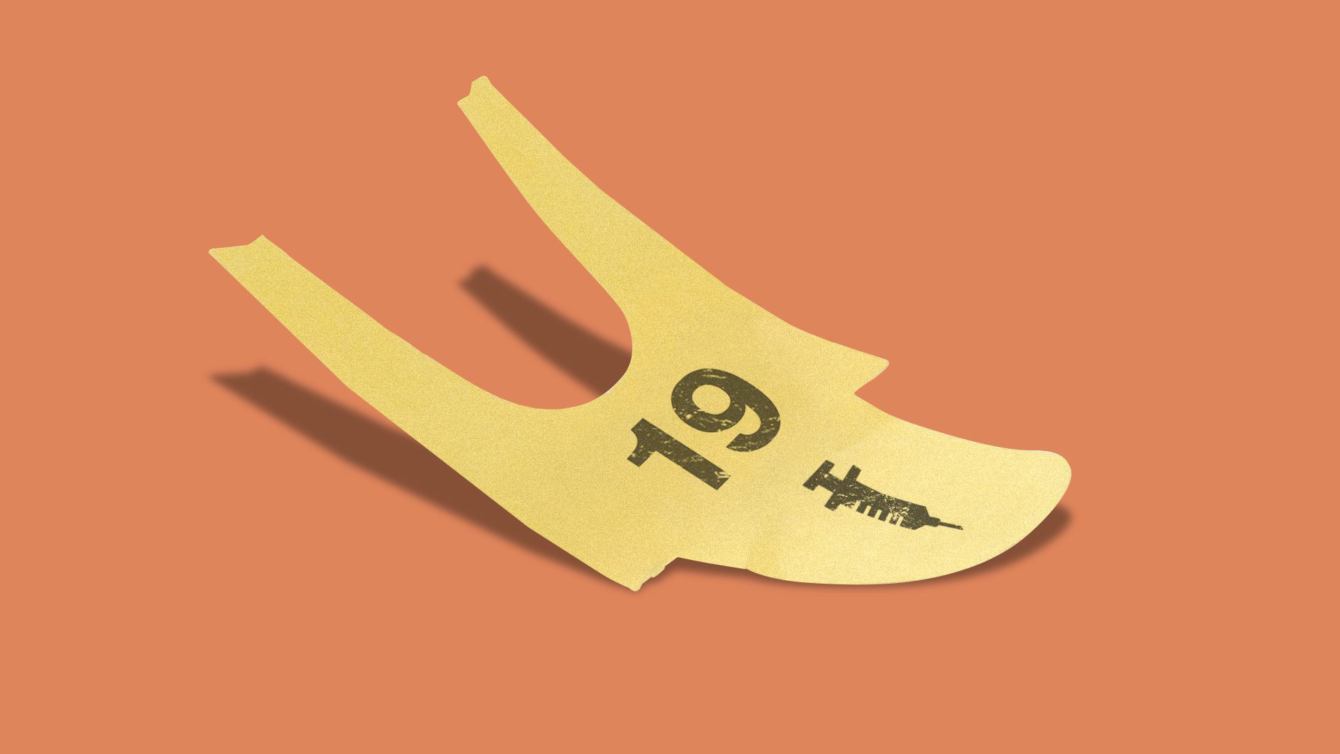 Illustration of a waiting ticket with the number 19 on it and a symbol of a syringe.