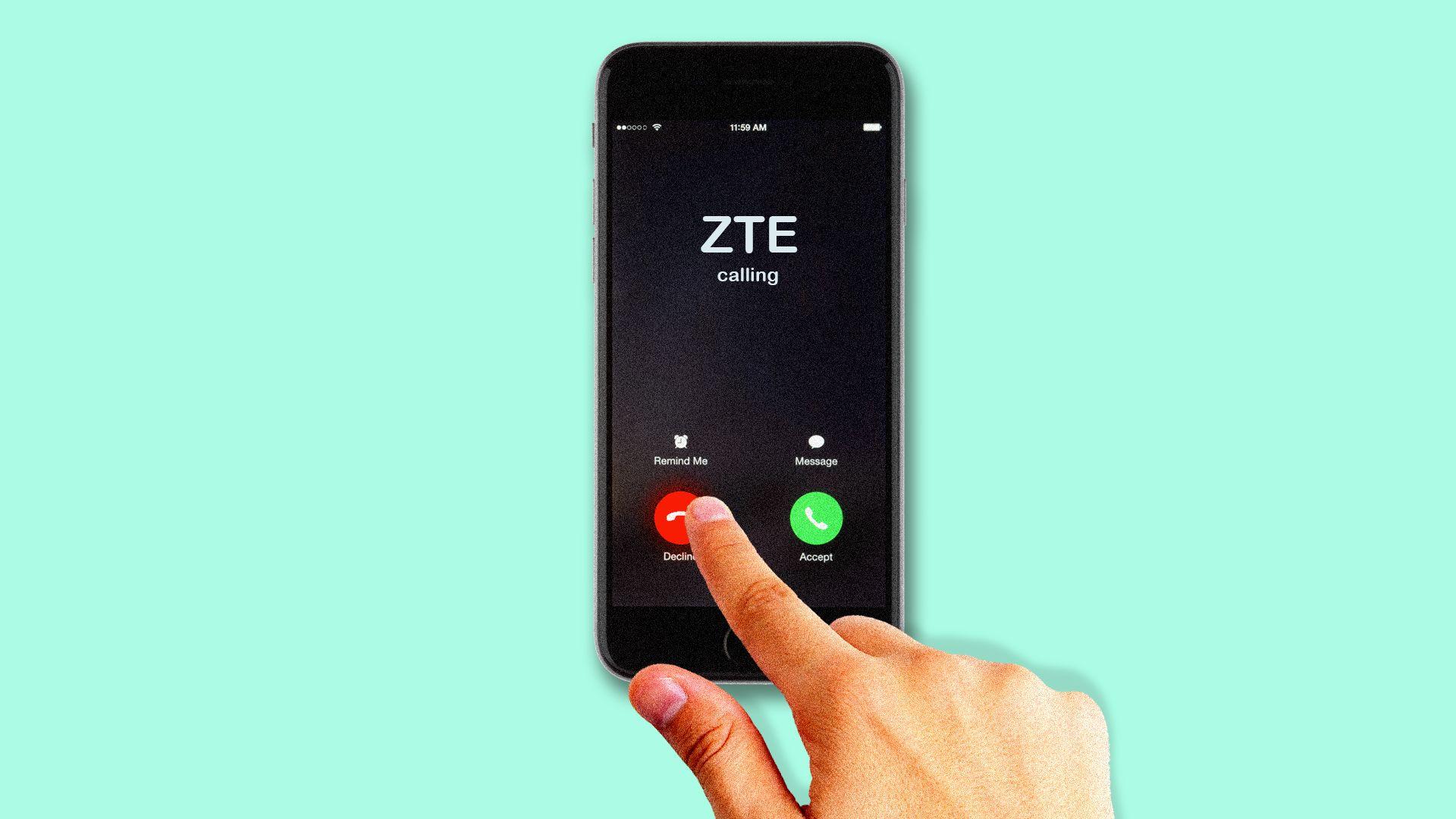 Artistic interpretation of someone refusing a call from ZTE