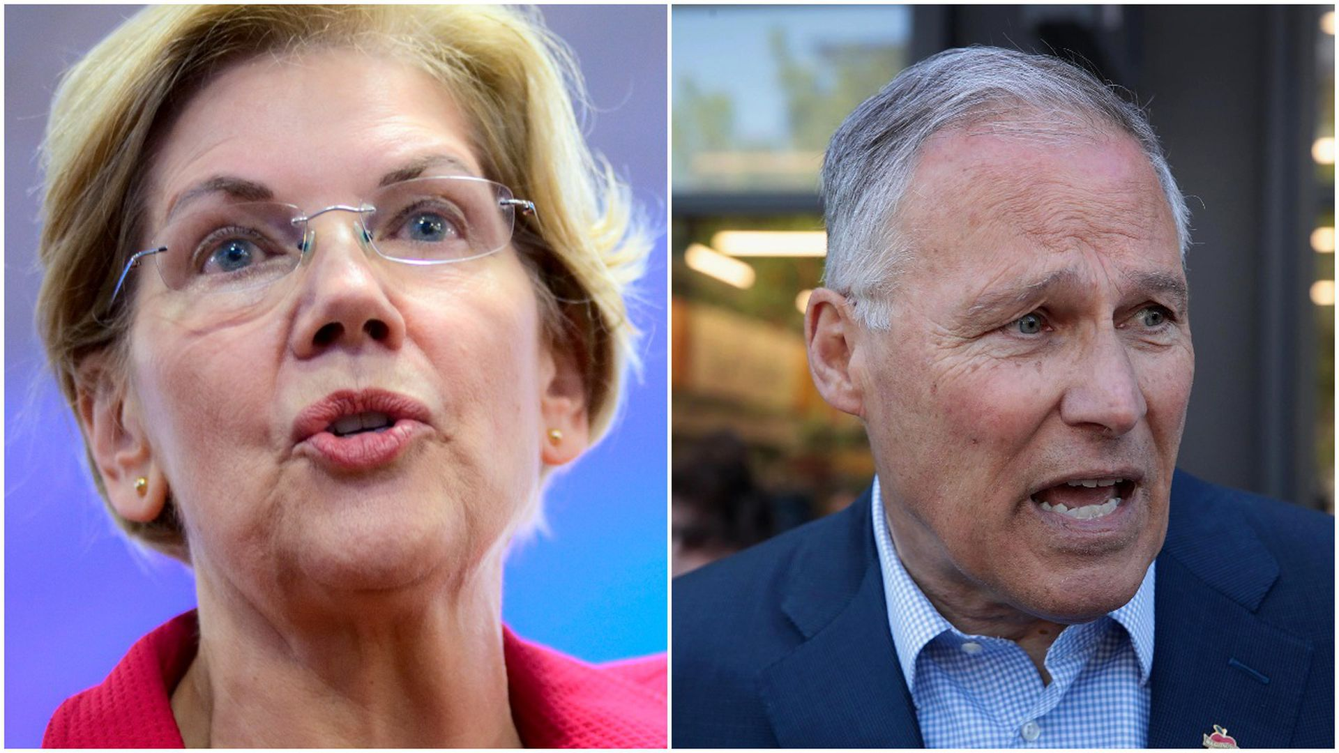 This image is a two way split screen of Elizabeth Warren and Jay Inslee.