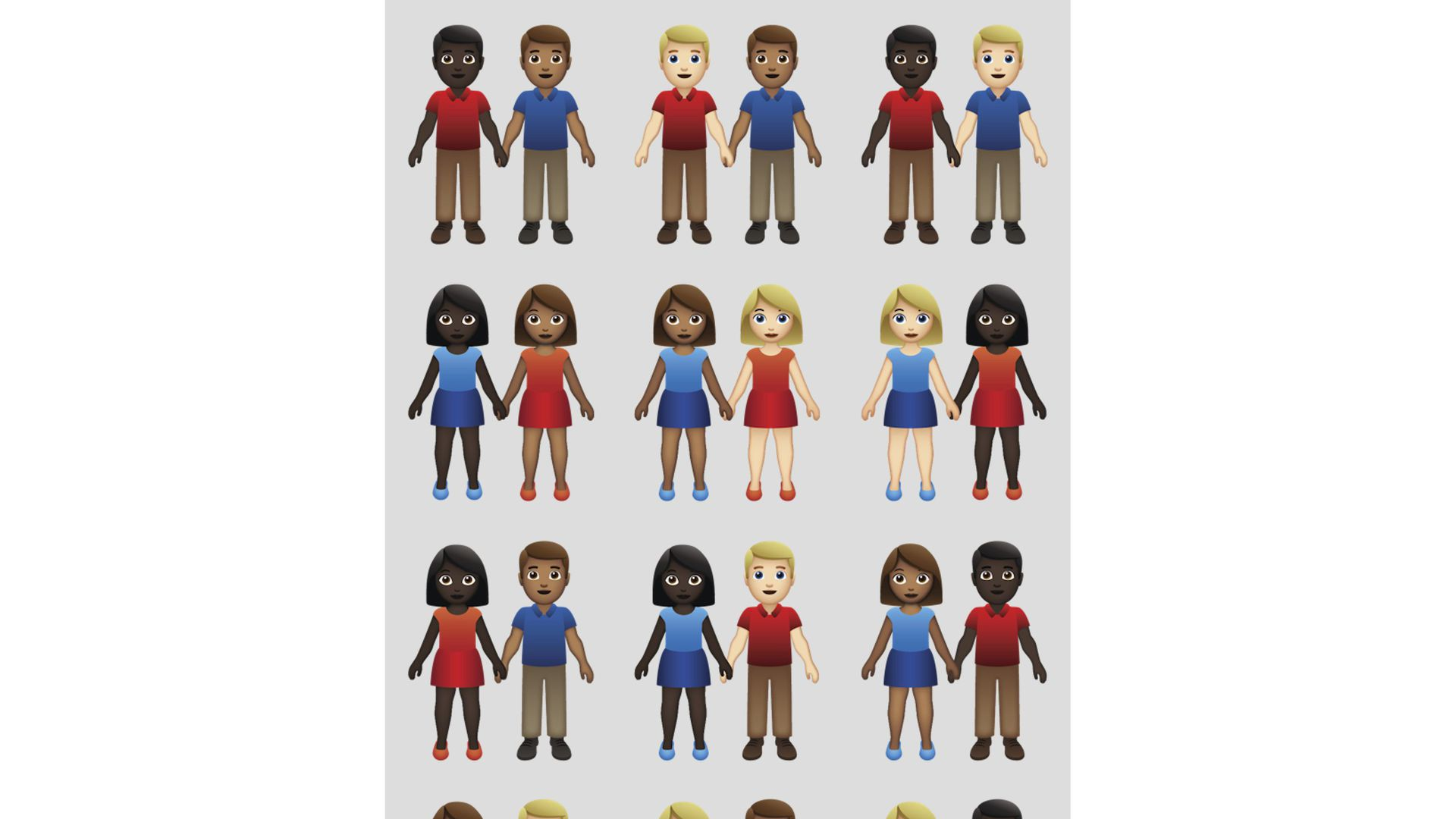 emojis couples of different skin tones holding hands.