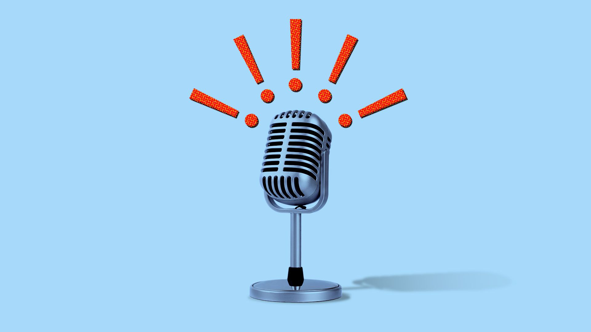 Illustration of a microphone surrounded by exclamation points