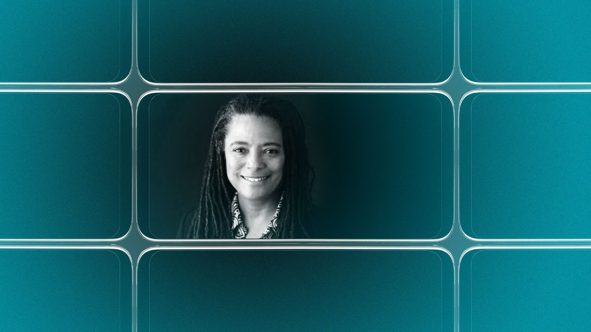 Photo illustration of a grid of smartphone screens, the center one showing an image of Nadine Smith.