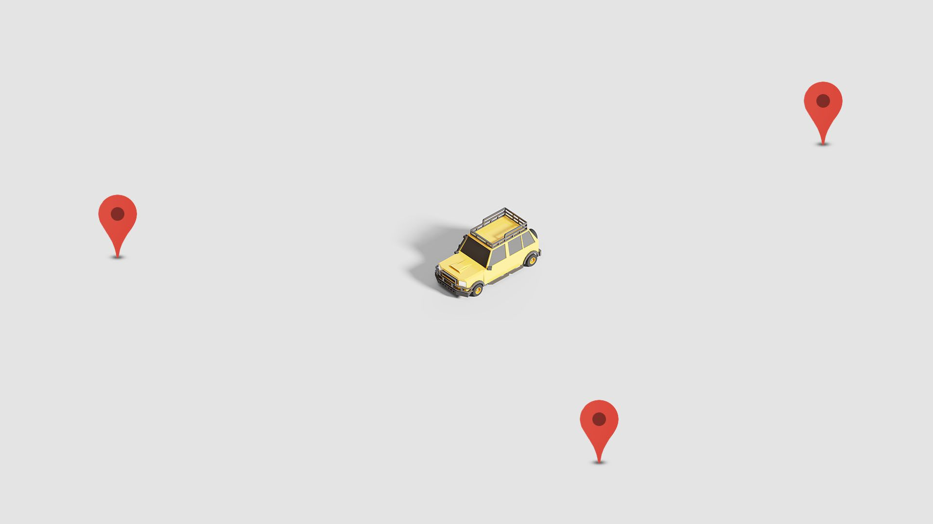 Illustration of a car on a blank map