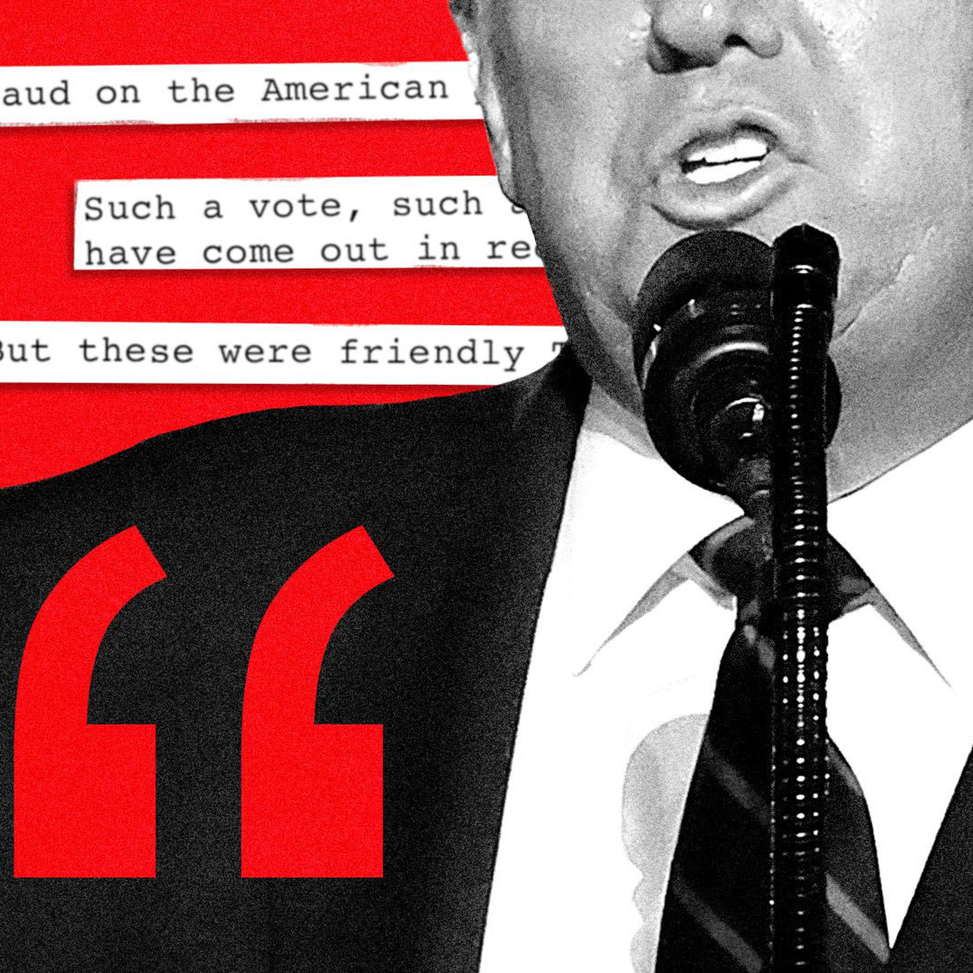 Photo illustration of Donald trump speaking with quotes from his election night speech in the background