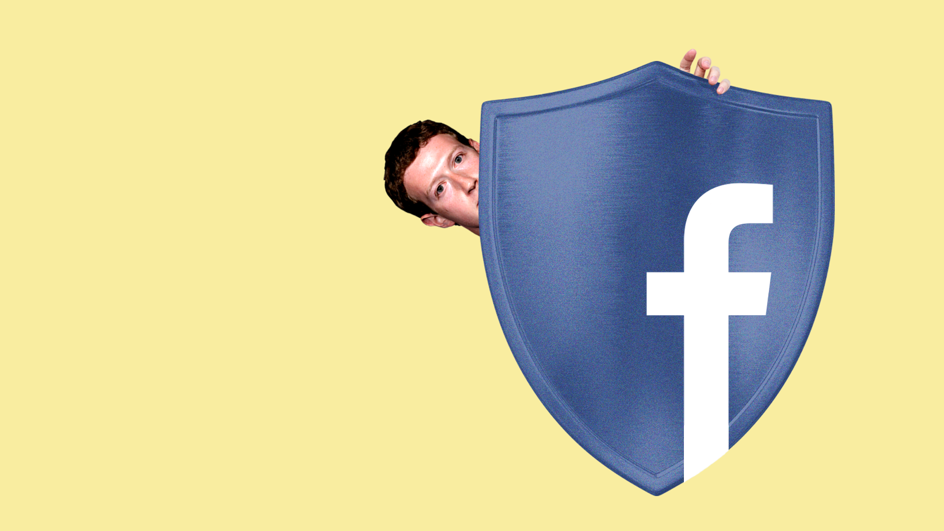 Illustration of Mark Zuckerberg hiding behind a shield with the Facebook logo on it