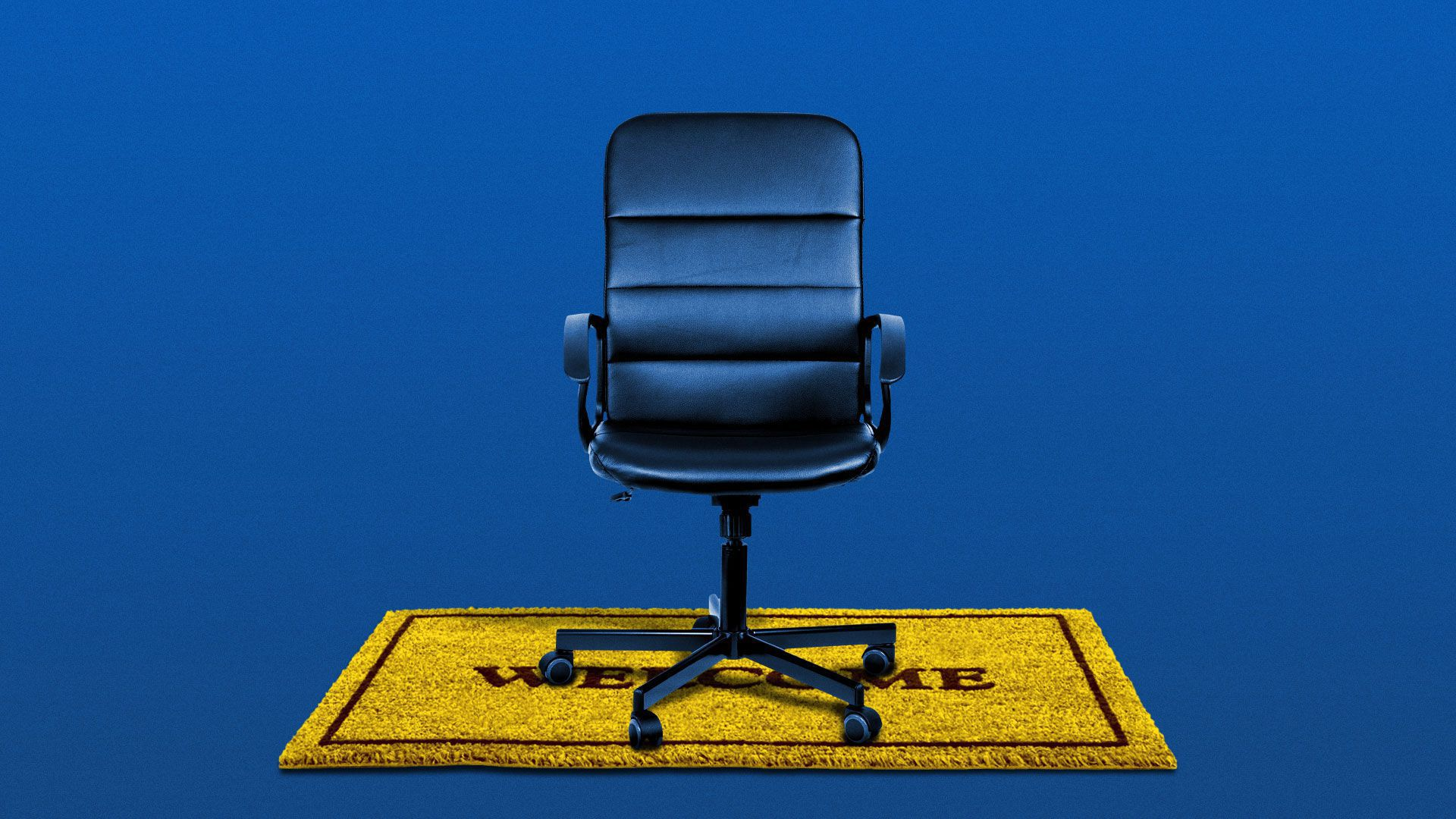 Illustration of a desk chair on a welcome mat.