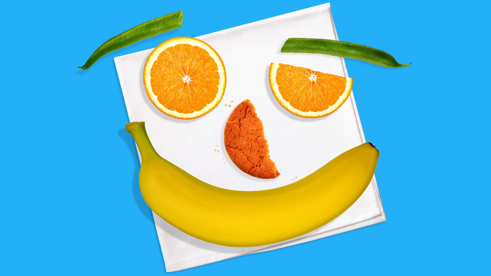 Illustration of a lunch shaped like a smiling face
