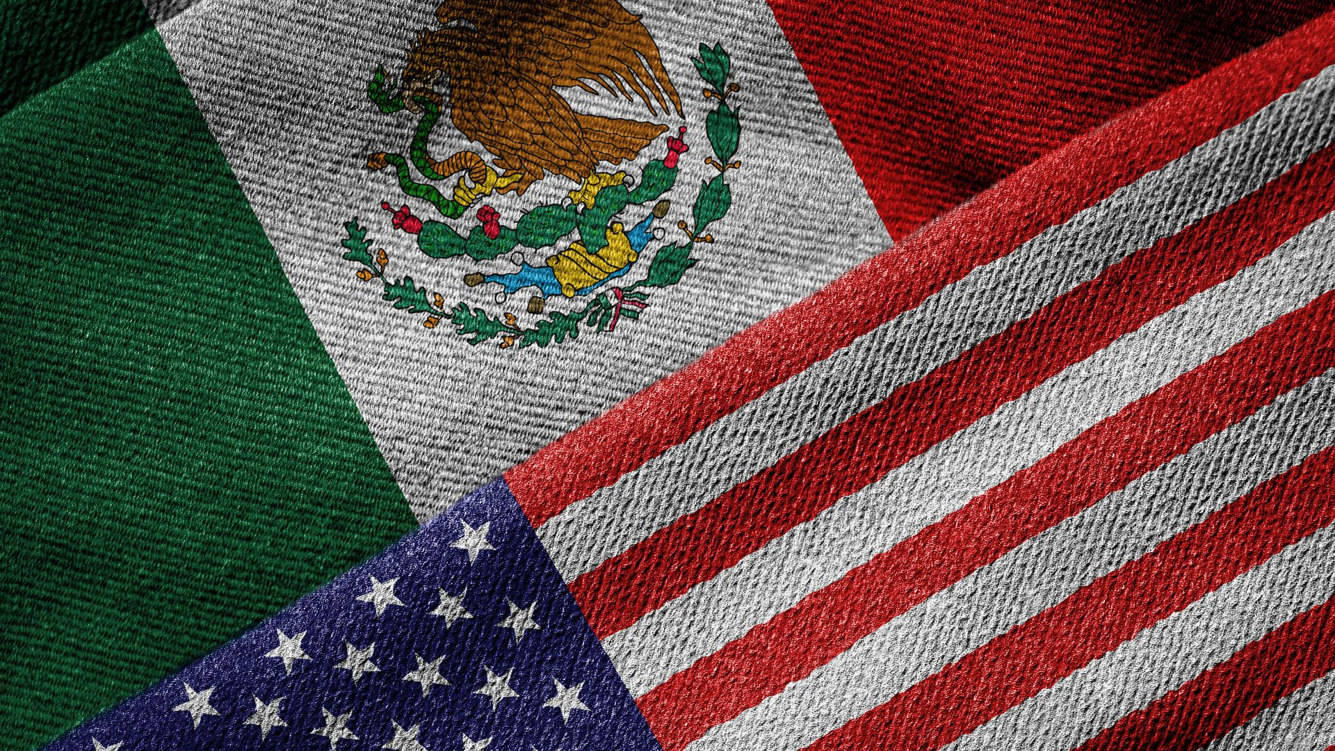 Mexican and American flags side by side