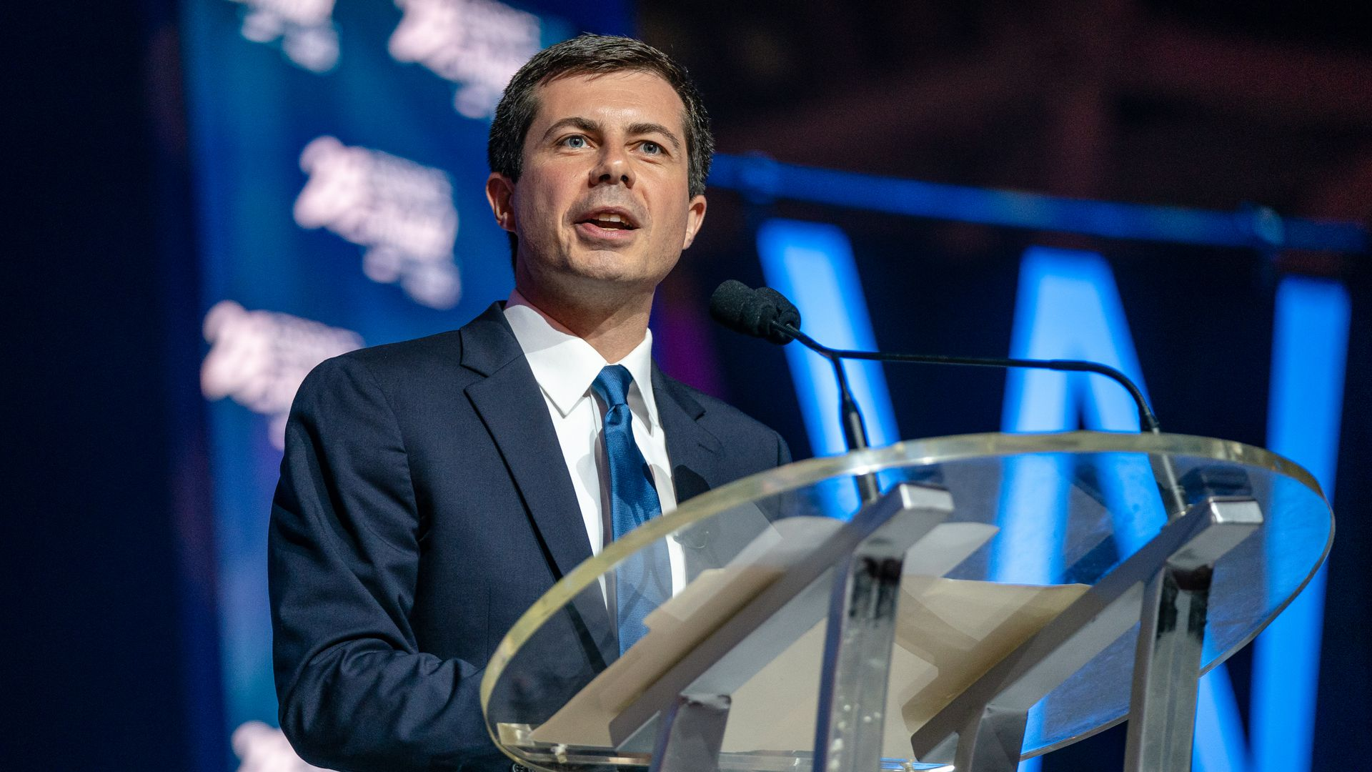 Mayor Pete Buttigieg speaks at the 25th Essence Festival at Ernest N. Morial Convention Center on July 07.