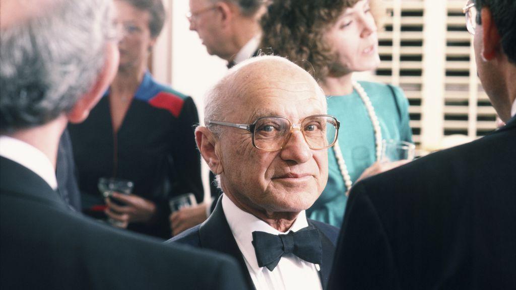 A photo of economist Milton Friedman in 1986.