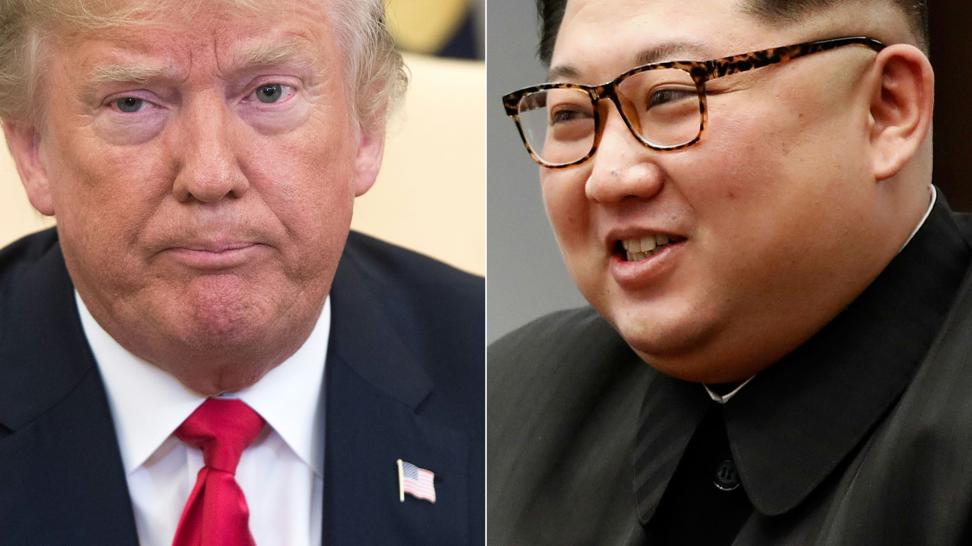 Donald Trump in the Oval Office on May 17, 2018, and Kim Jong-un during the inter-Korean summit in Panmunjom on April 27, 2018.