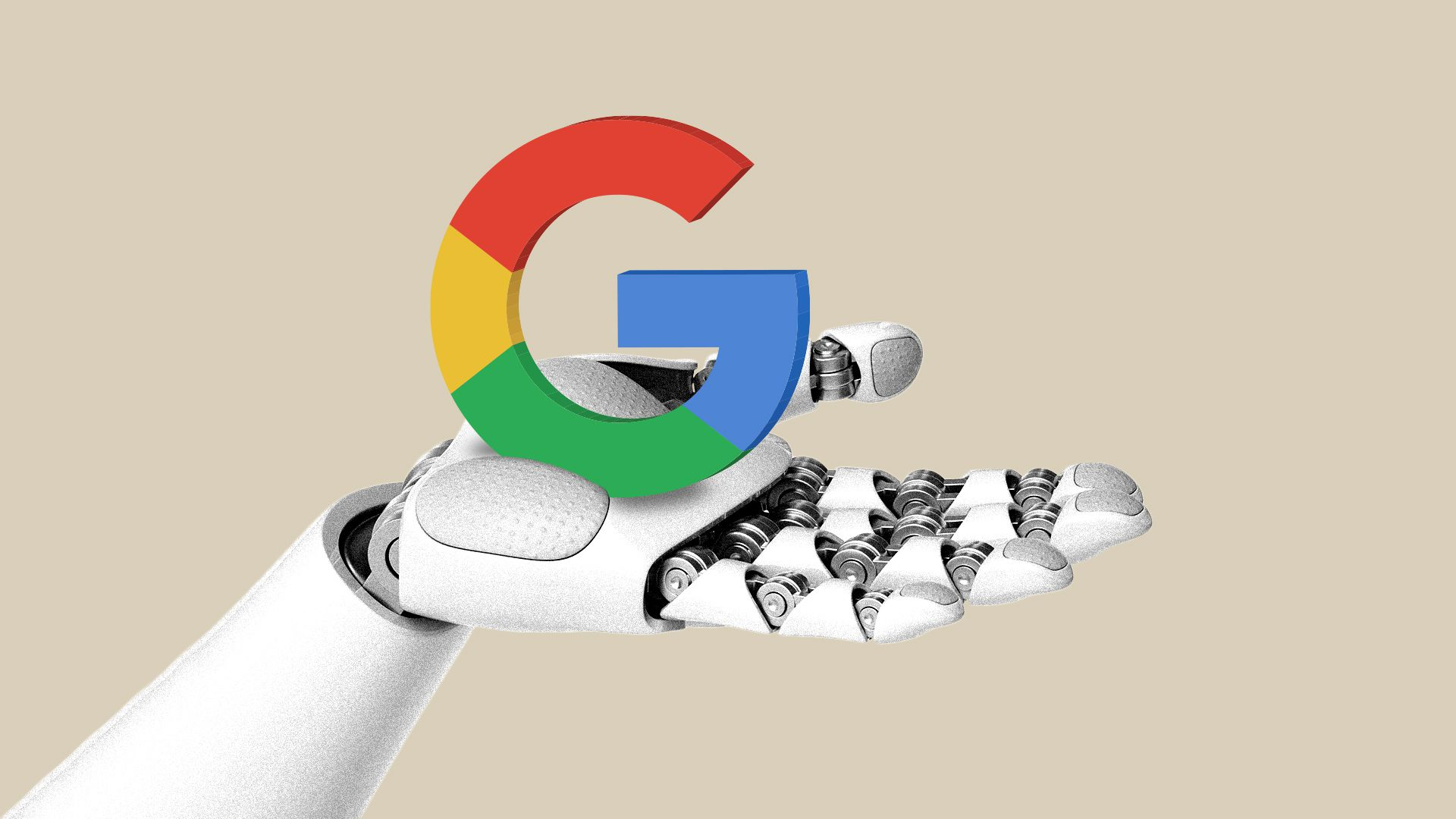 Illustration of a robot hand holding up the Google G