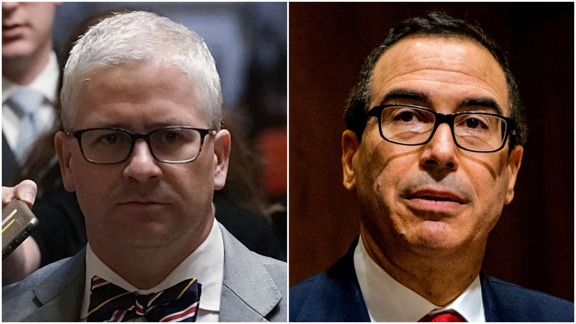 Profile shots of Pat McHenry and Steve Mnuchin