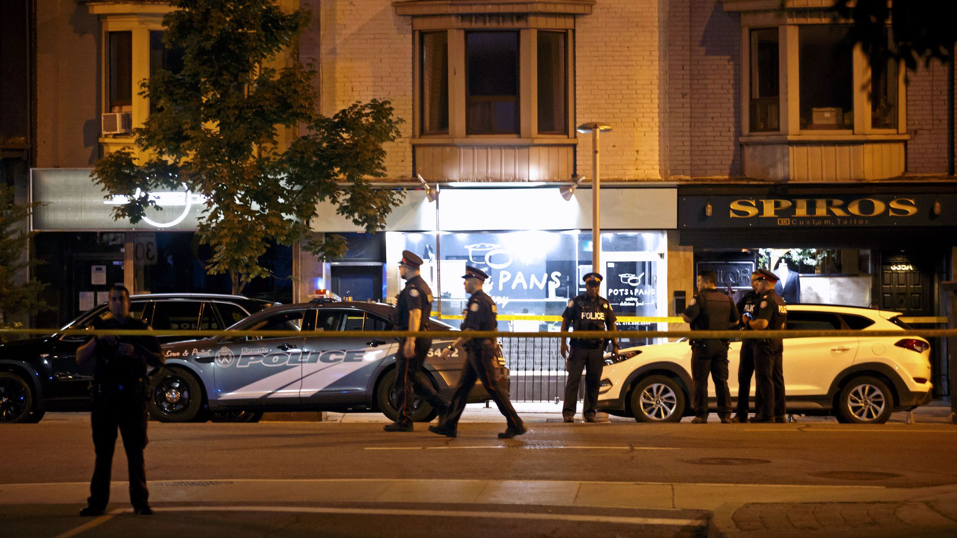 Police secure a shooting scene in Toronto