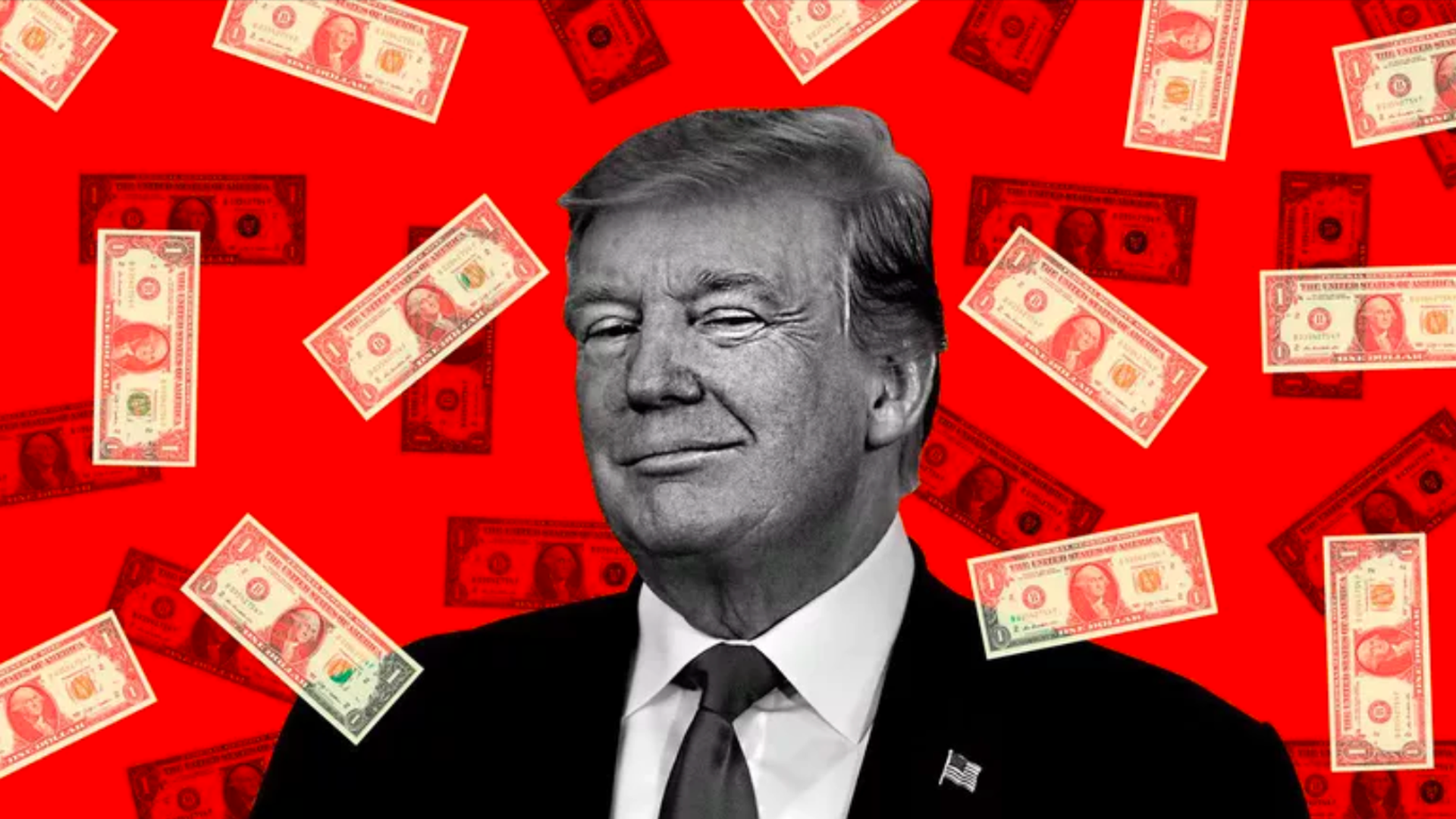 In this illustration, US dollars fall around Trump's head. He's smirking.