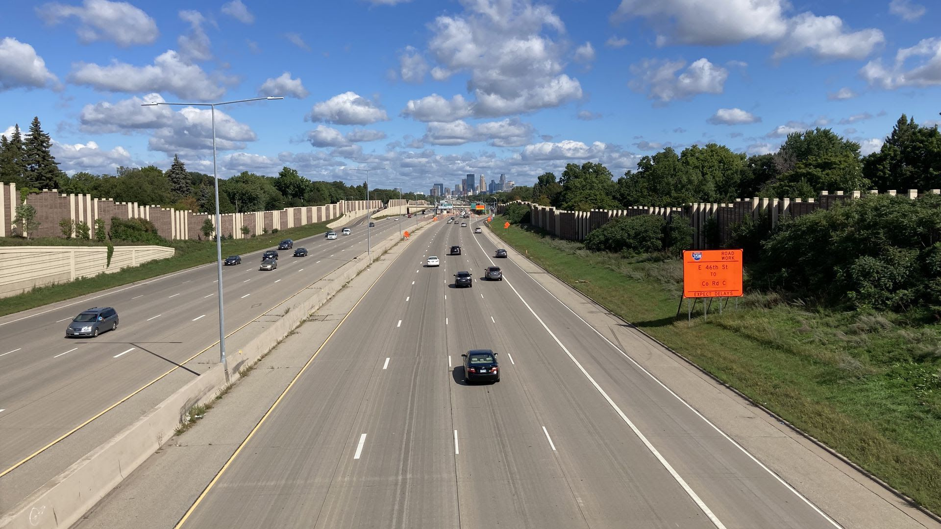 Cars drive on Interstate 35W in Minneapolis.