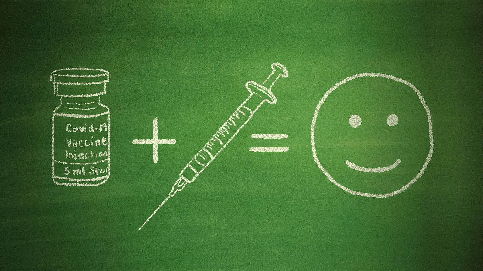 Illustration of a chalkboard with a an equation featuring the covid vaccine plus a syringe equals a smiley face