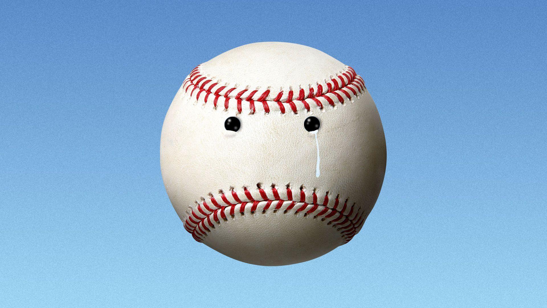 Illustration of a crying baseball