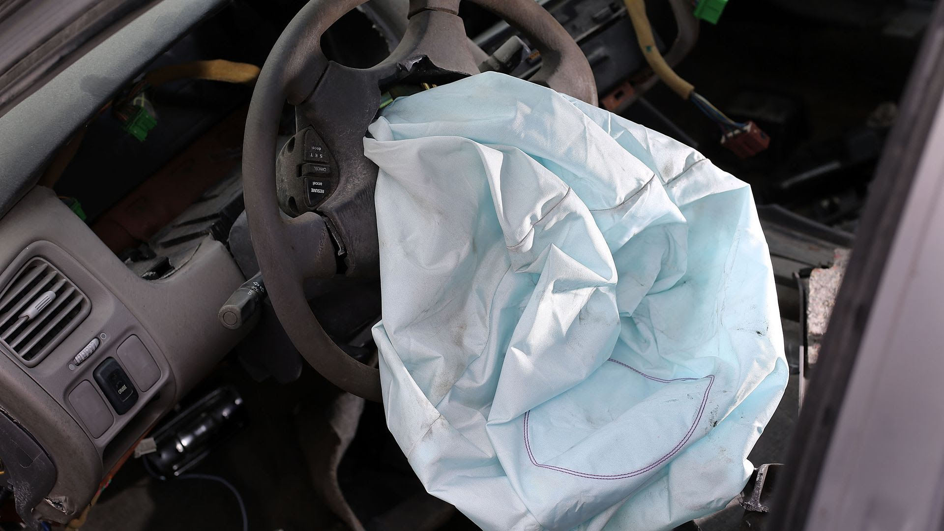 A deployed airbag.