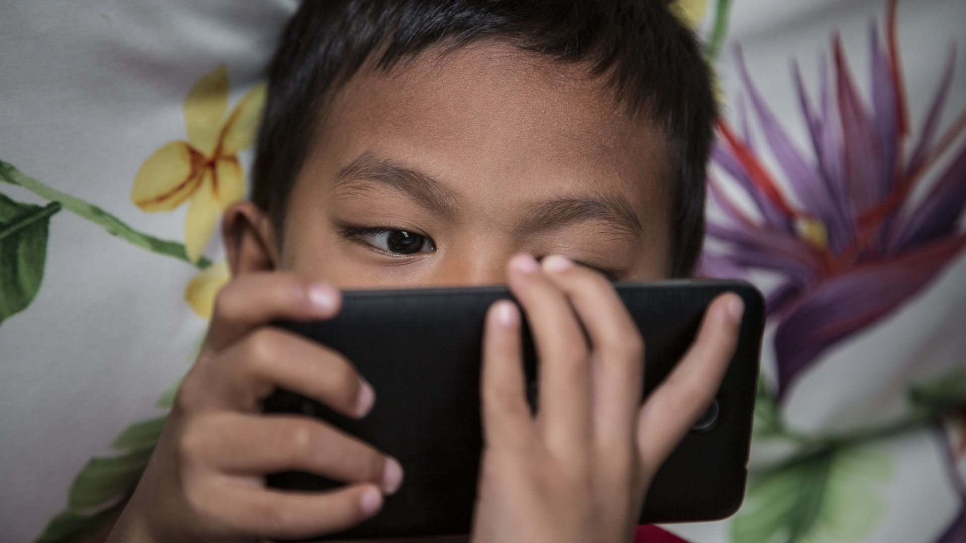A child looks at a mobile phone.
