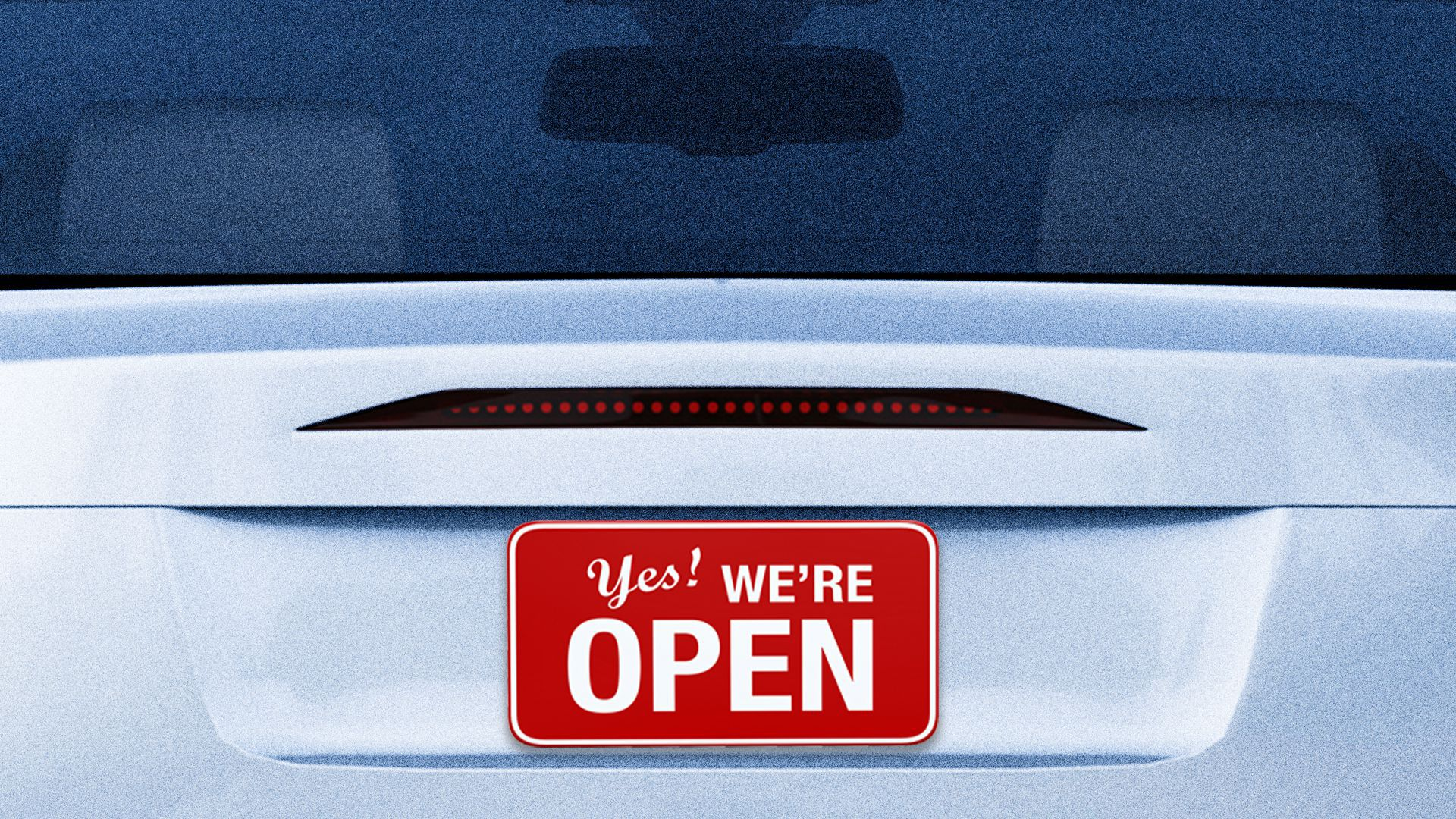 """Illustration of a car with an """"open"""" sign for a license plate"""