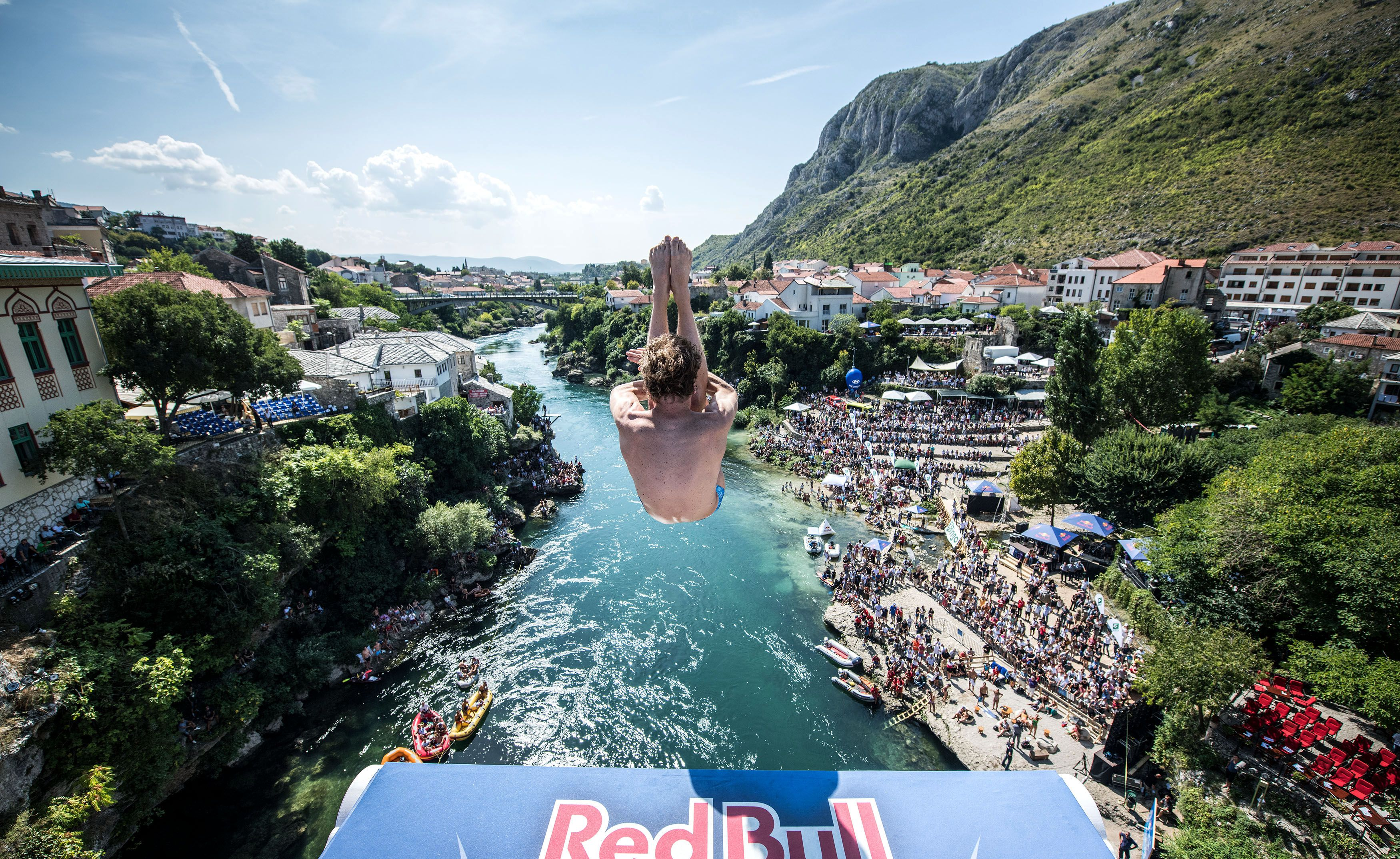 Cliff diving in Mostar