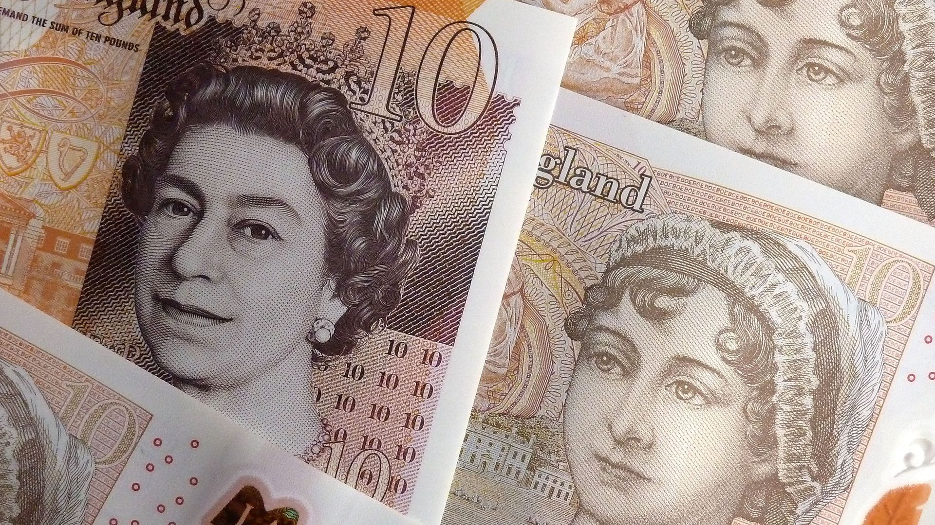 A photo illustration of the British ten pound note, featuring a portrait of Jane Austen