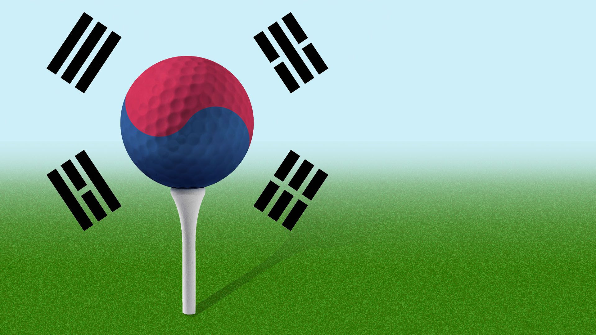Illustration of a golf ball on a tee with the Korean flag over it